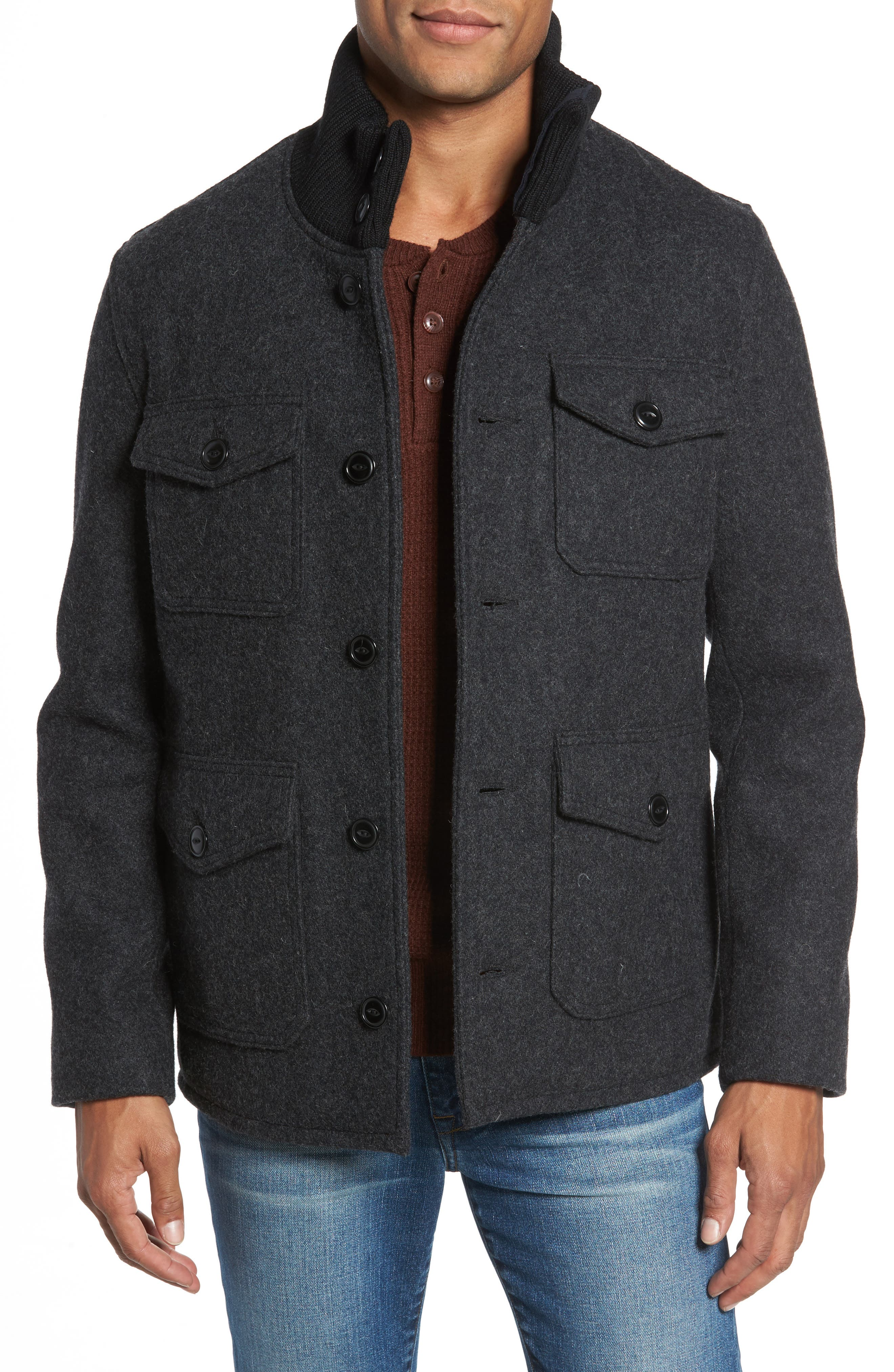 Wool Blend Field Jacket,                         Main,                         color, DARK OXFORD