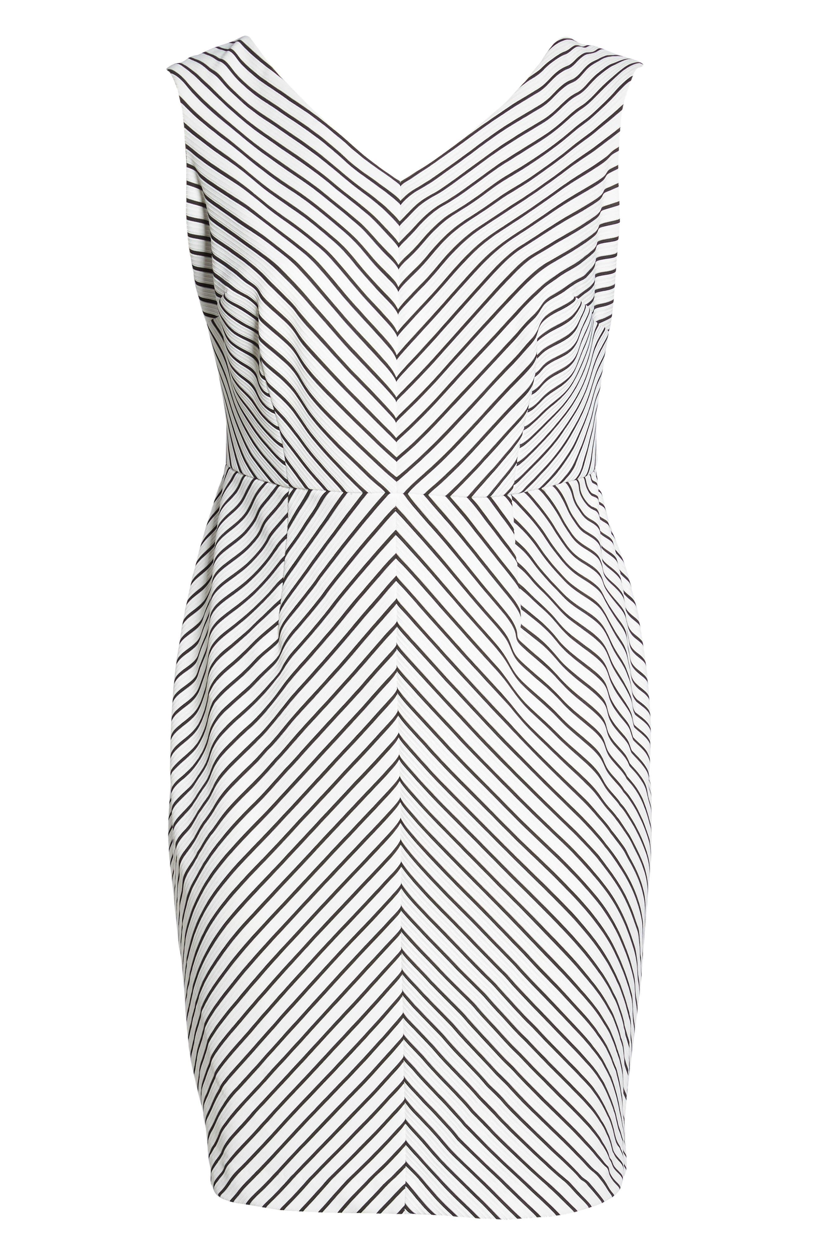 Ottoman Stripe Sheath Dress,                             Alternate thumbnail 6, color,                             004