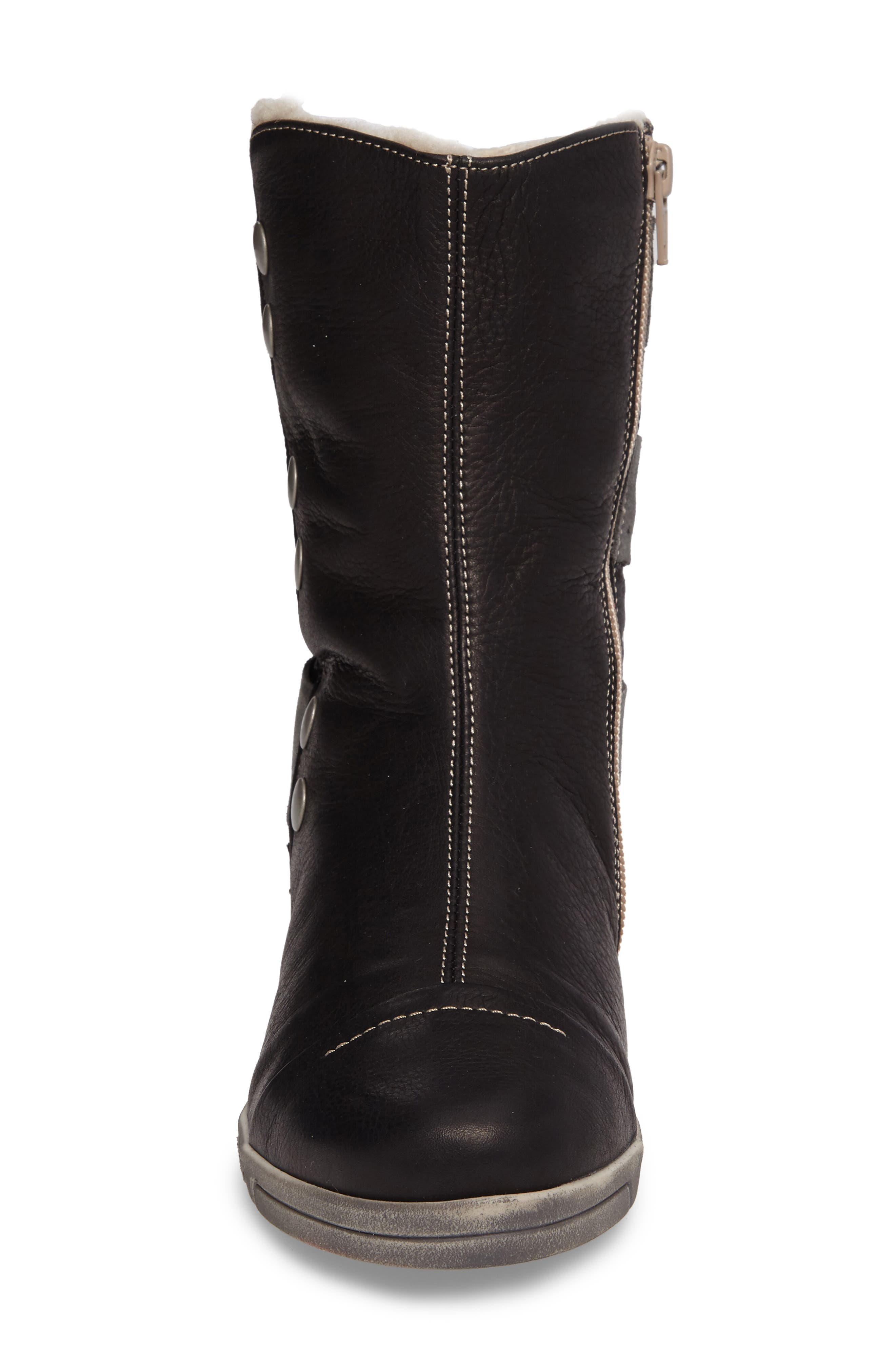 Amber Wool Lined Bootie,                             Alternate thumbnail 4, color,                             BLACK LEATHER