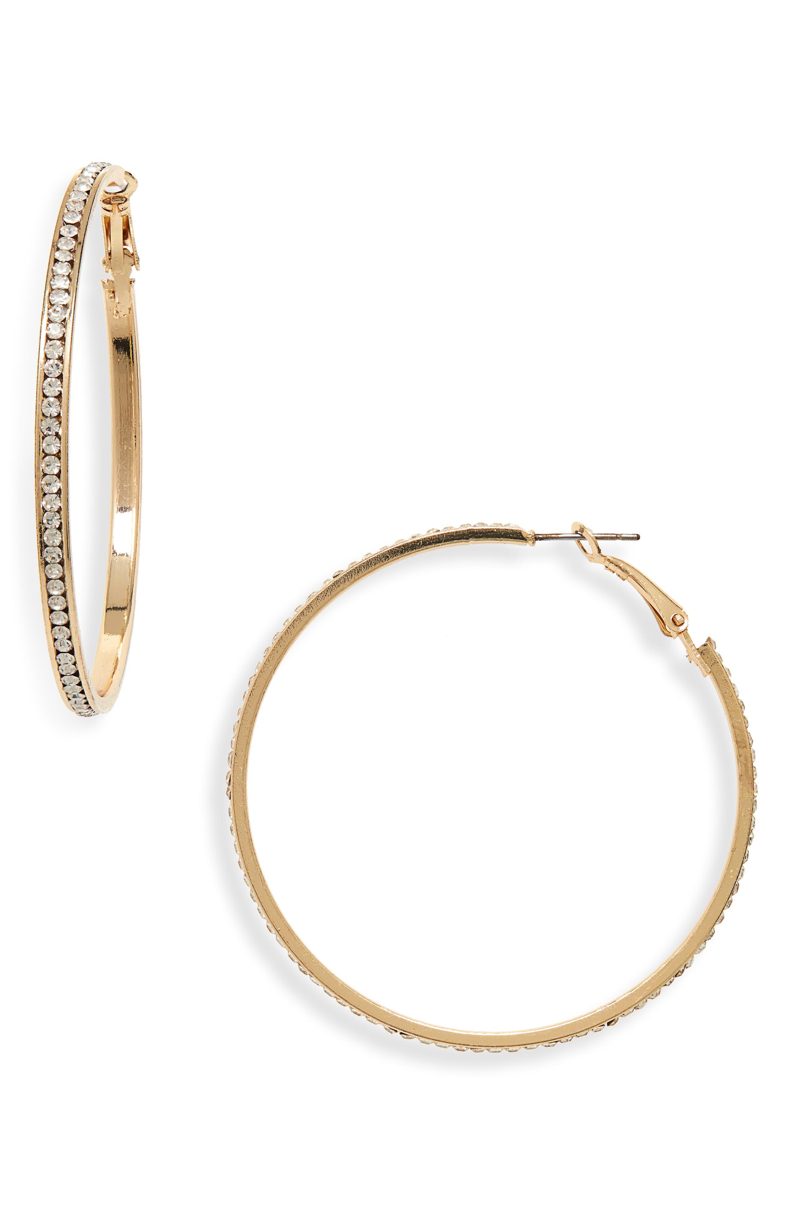 Crystal Hoop Earrings, Main, color, 710