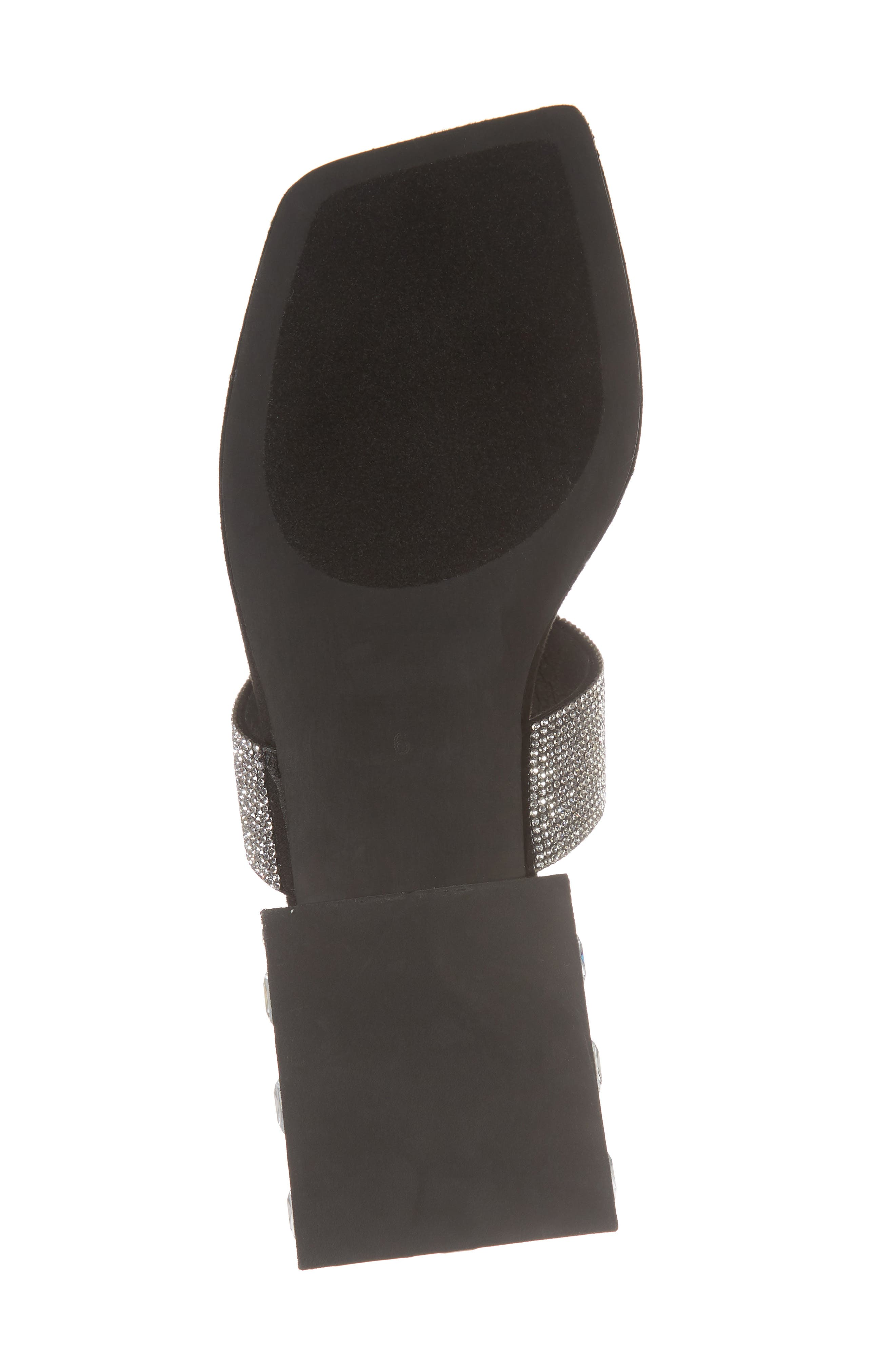 Alise Embellished Sandal,                             Alternate thumbnail 6, color,                             BLACK SUEDE/ SILVER