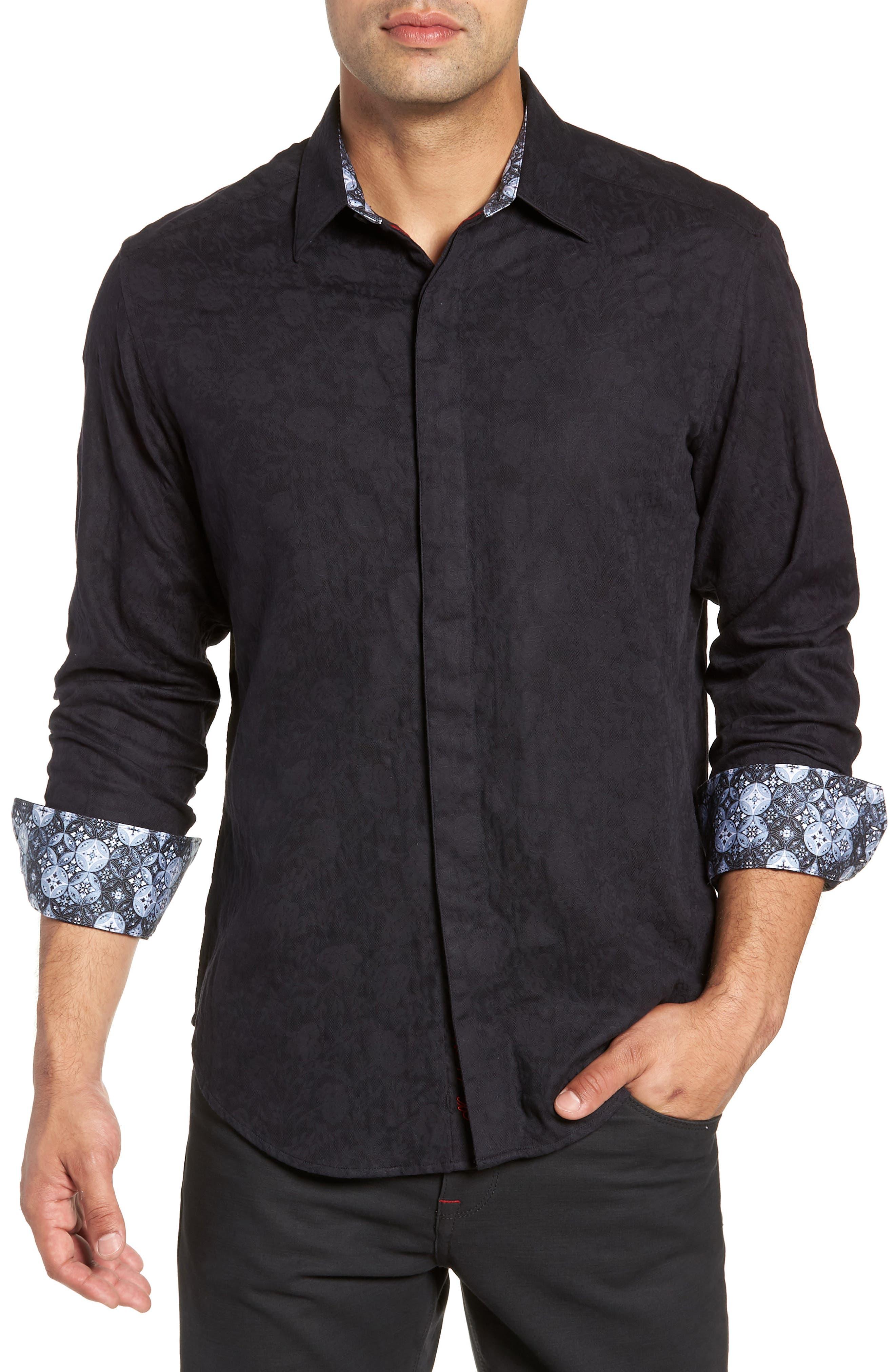 Nicholls Classic Fit Sport Shirt,                             Main thumbnail 1, color,                             BLACK