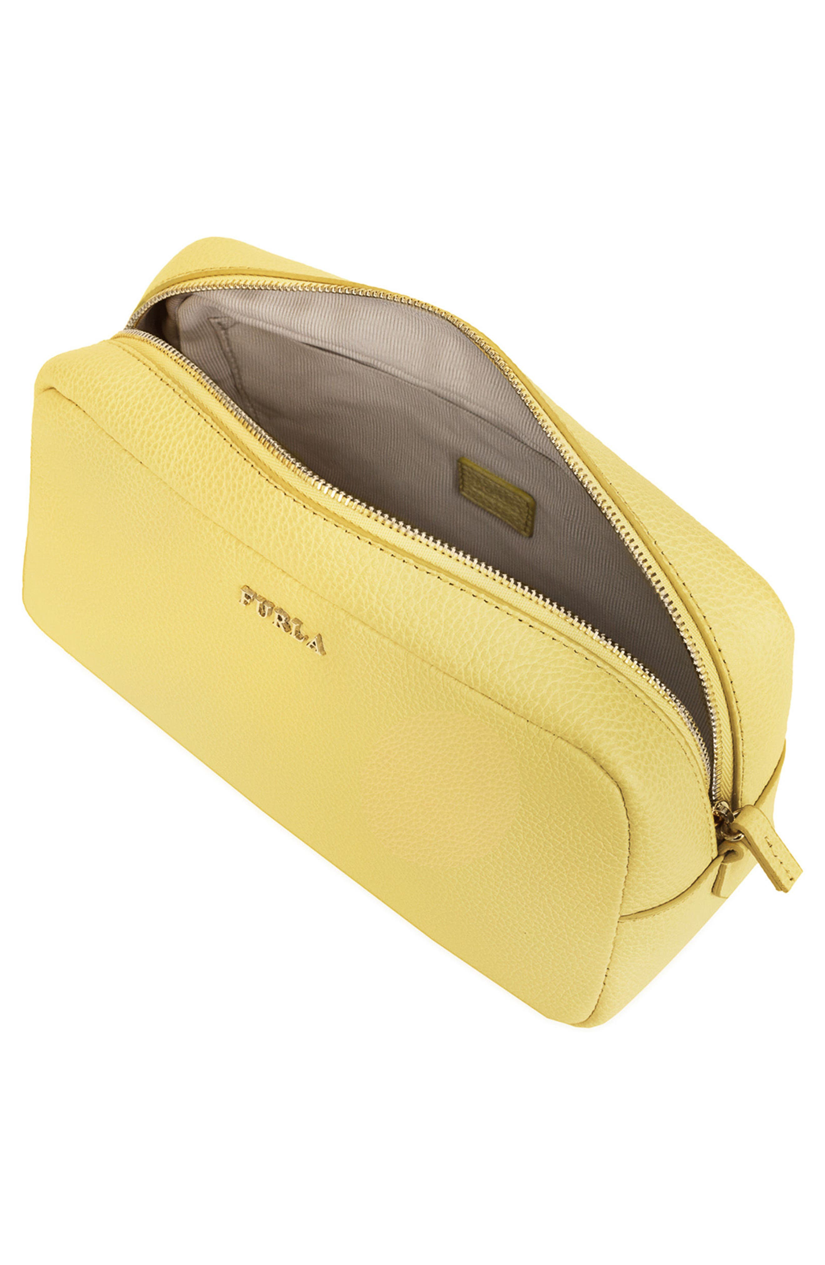 Bloom Extra Large Leather Cosmetic Bag,                             Alternate thumbnail 5, color,