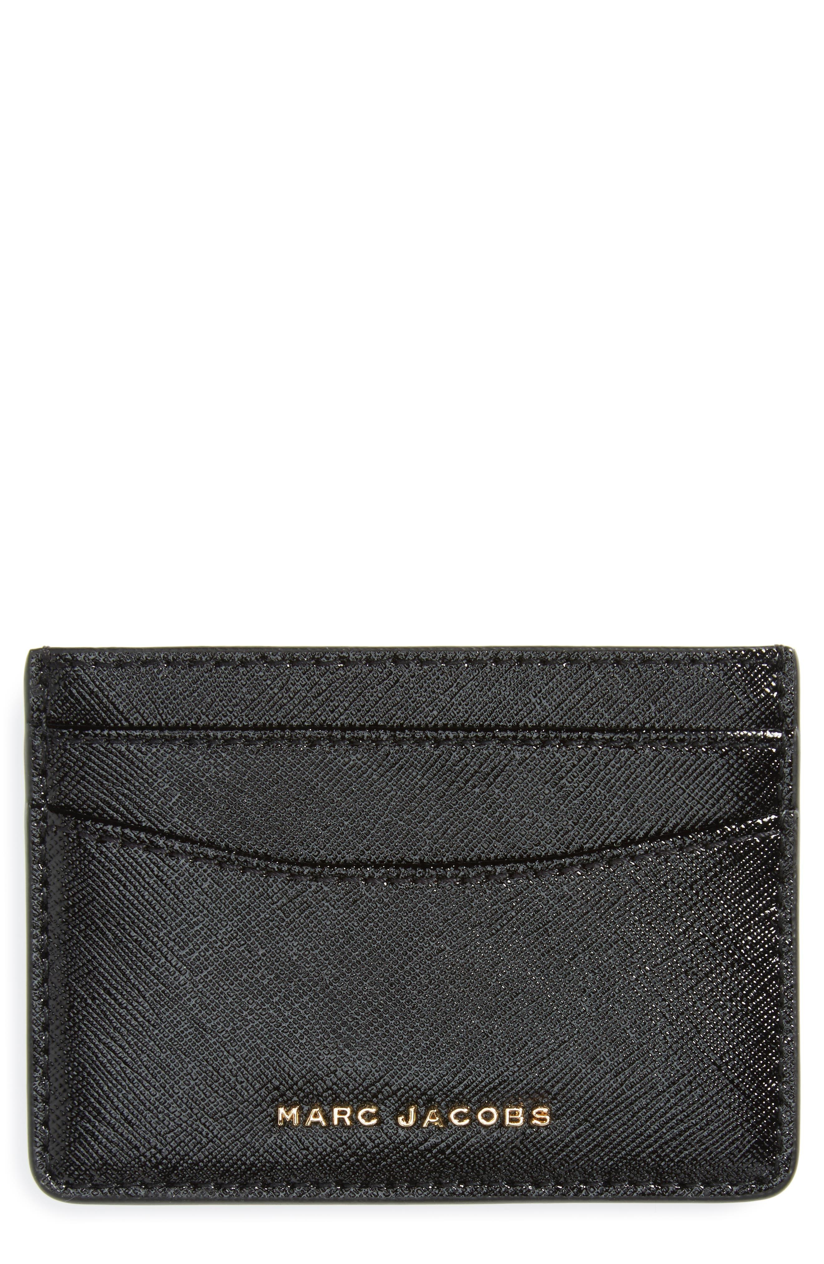 Color Block Saffiano Leather Card Case,                         Main,                         color,