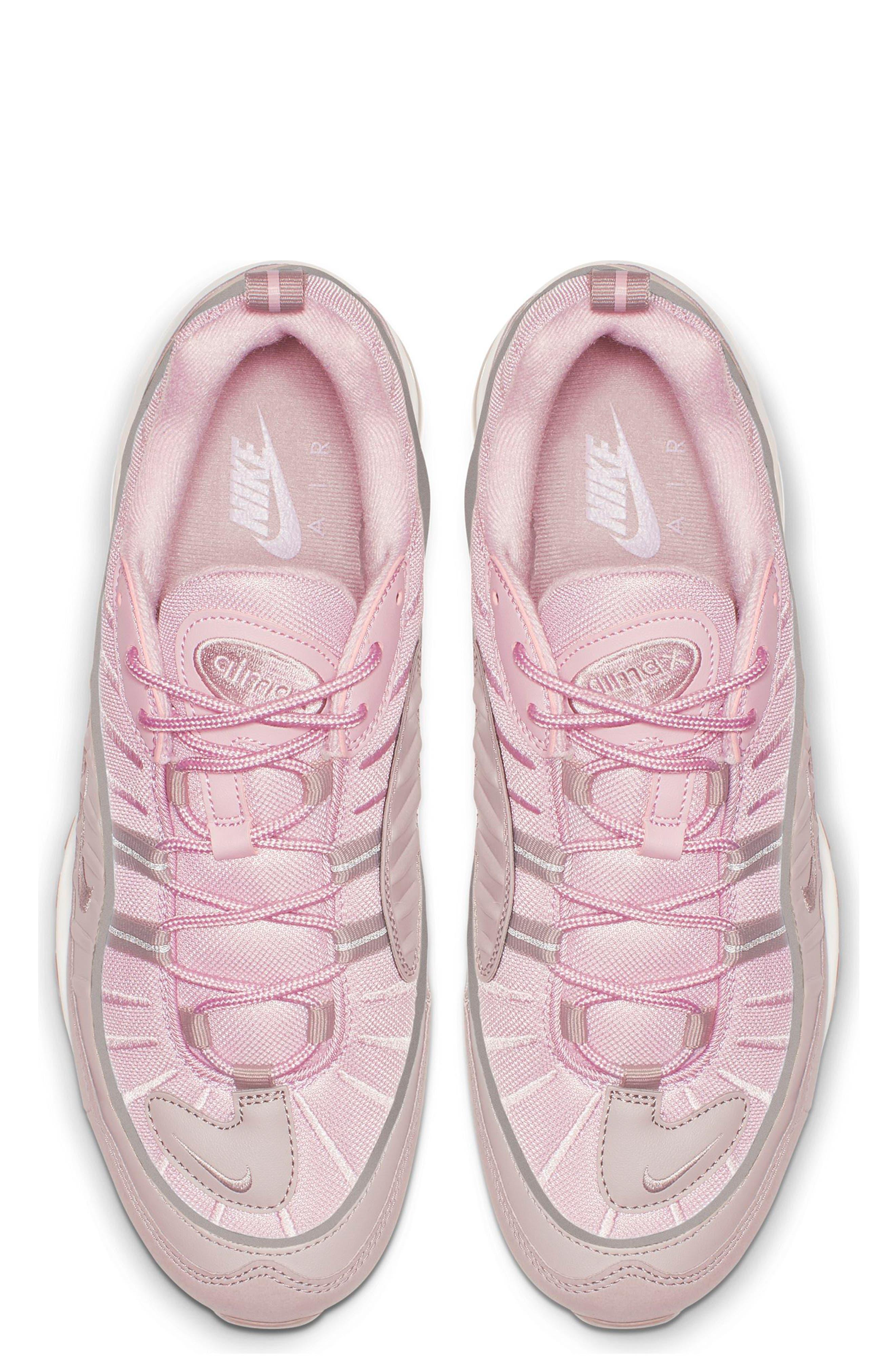 Air Max 98 Sneaker,                             Alternate thumbnail 4, color,                             PUMICE/ PLUM CHALK/ WHITE