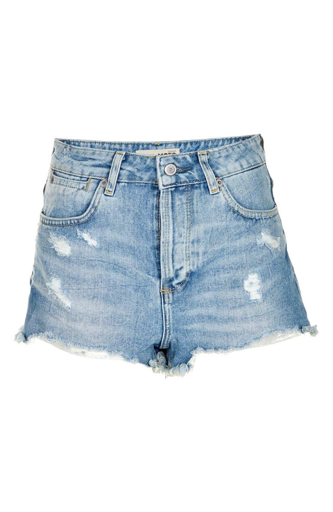 TOPSHOP,                             Moto 'Ruthie' Distressed Denim Shorts,                             Alternate thumbnail 4, color,                             420