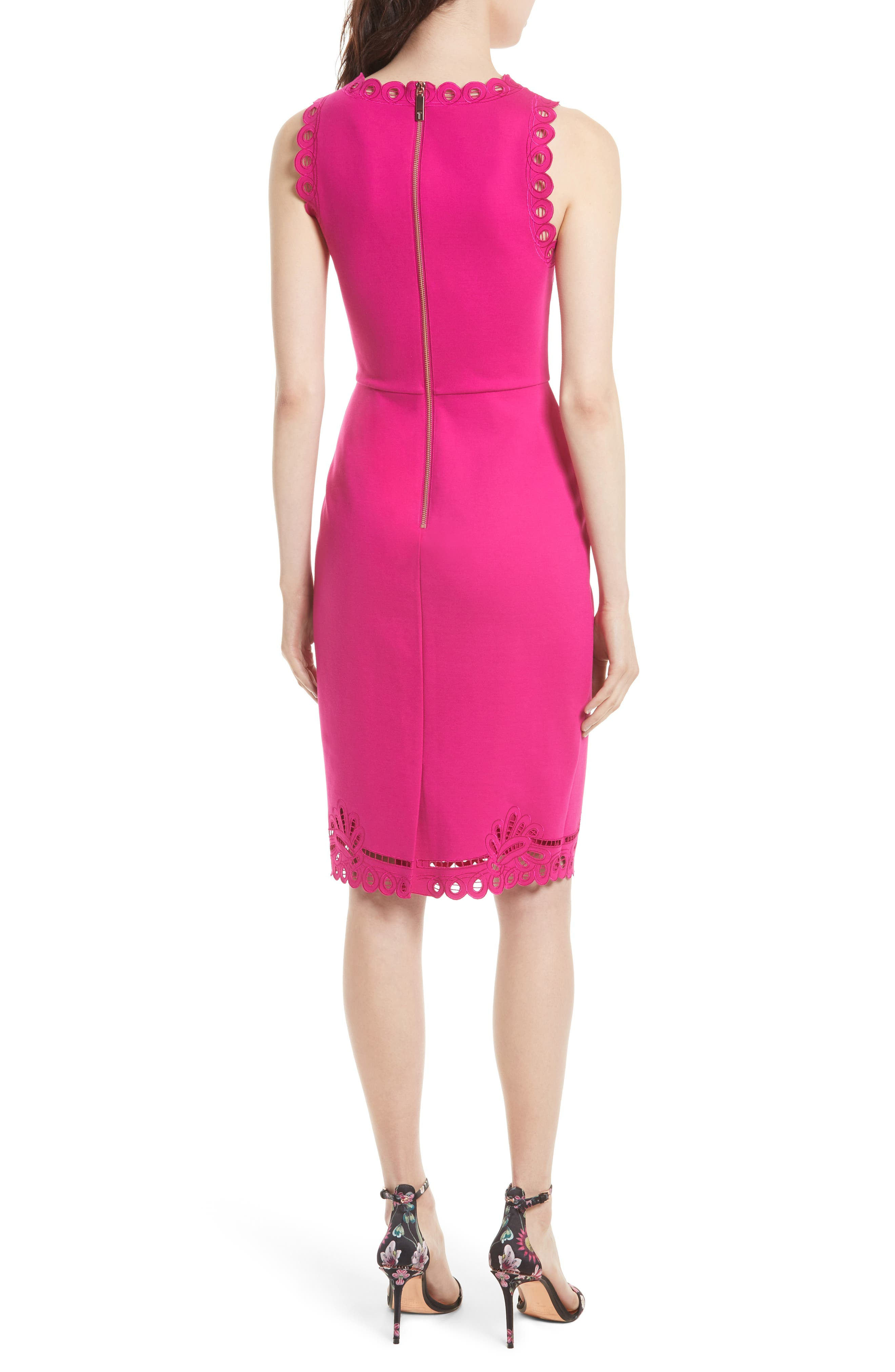 Verita Cutout Yoke Sheath Dress,                             Alternate thumbnail 6, color,