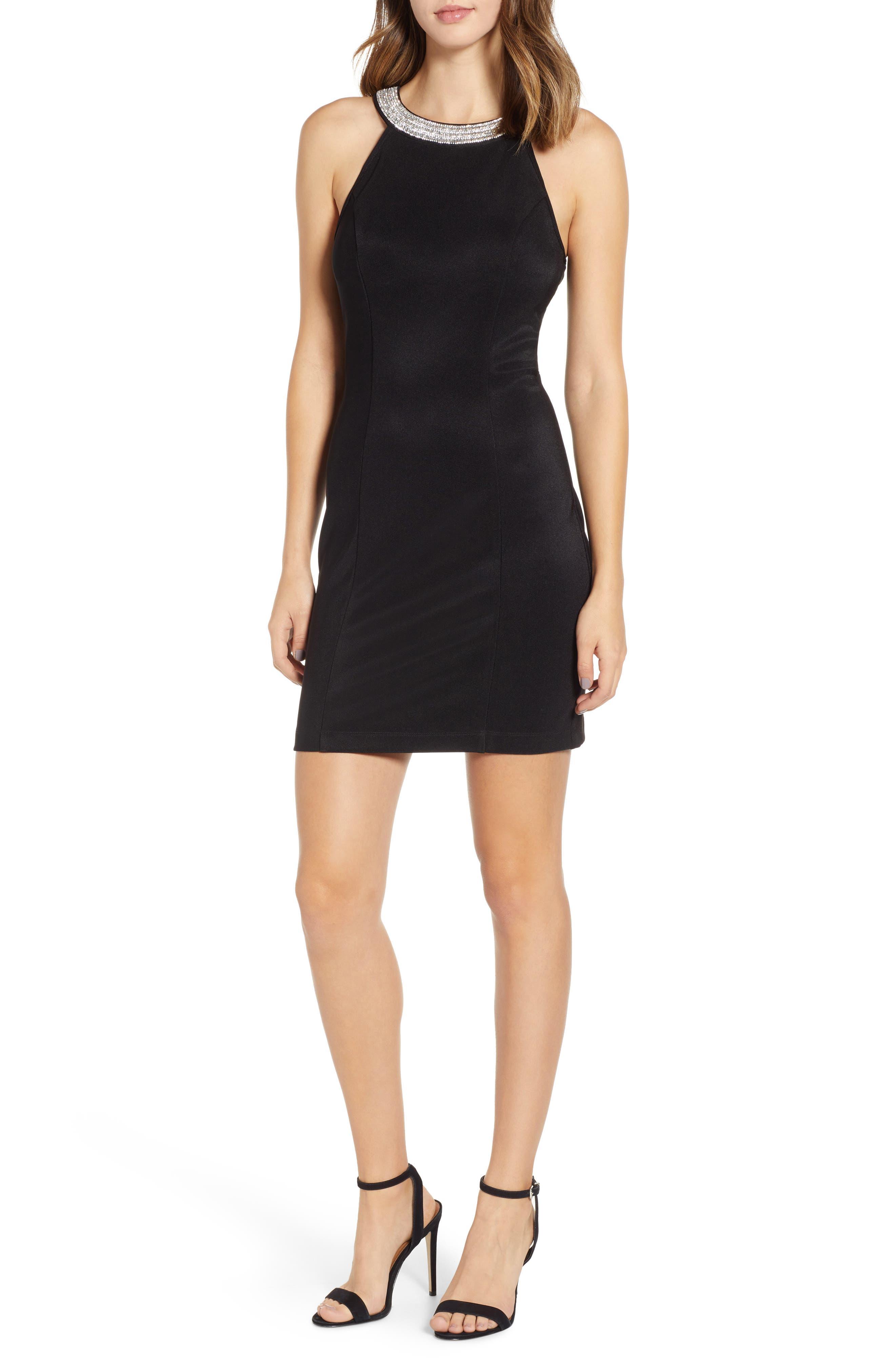 Side Illusion Sleeveless Sheath Dress,                             Main thumbnail 1, color,                             BLACK