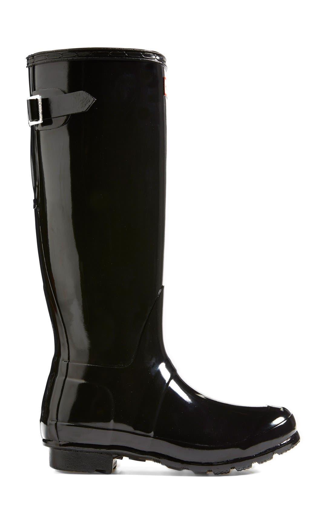 Adjustable Back Gloss Waterproof Rain Boot,                             Alternate thumbnail 4, color,                             BLACK