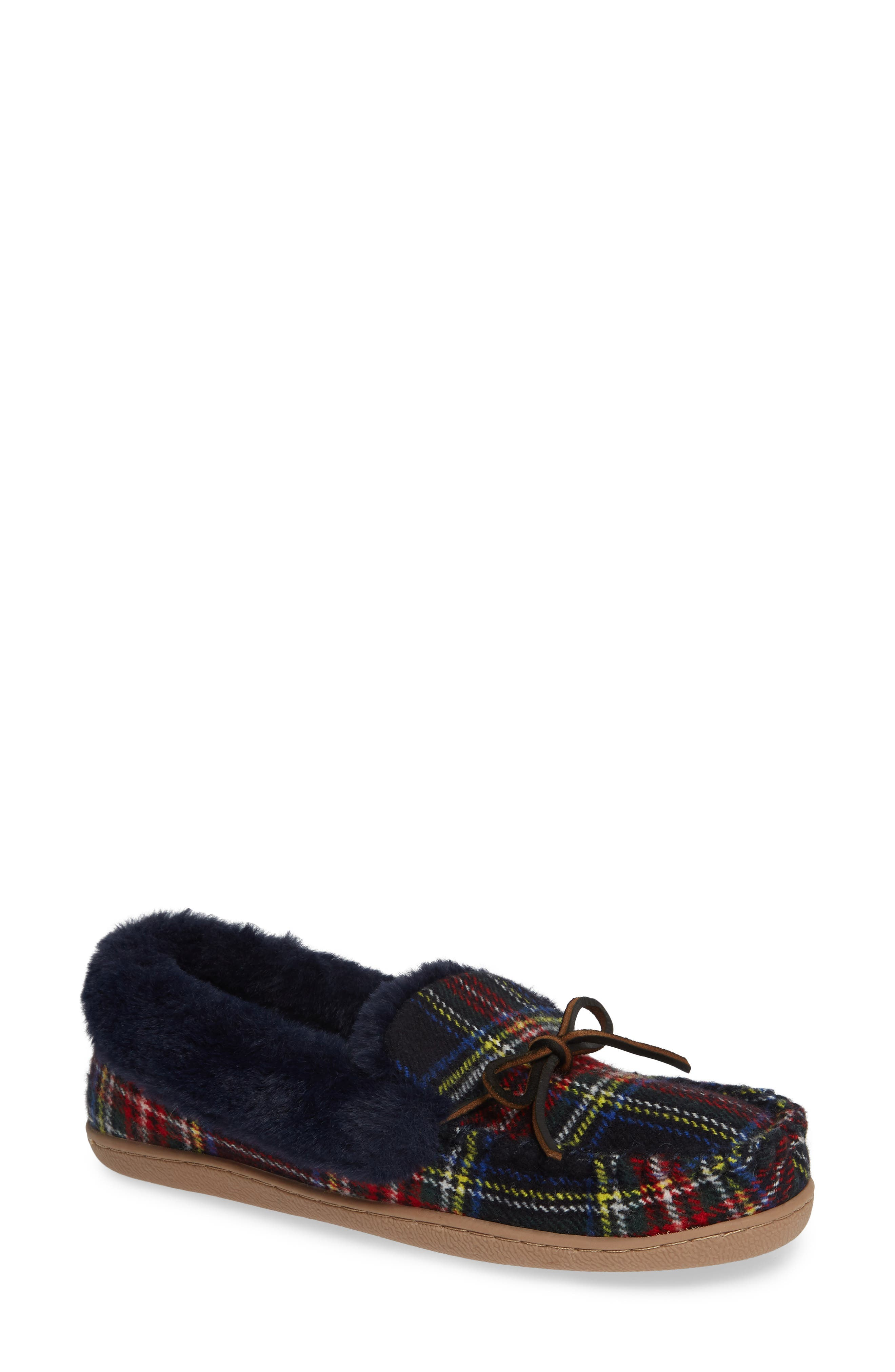 Poppy Moc Slipper,                         Main,                         color, NAVY/ RED PLAID FABRIC