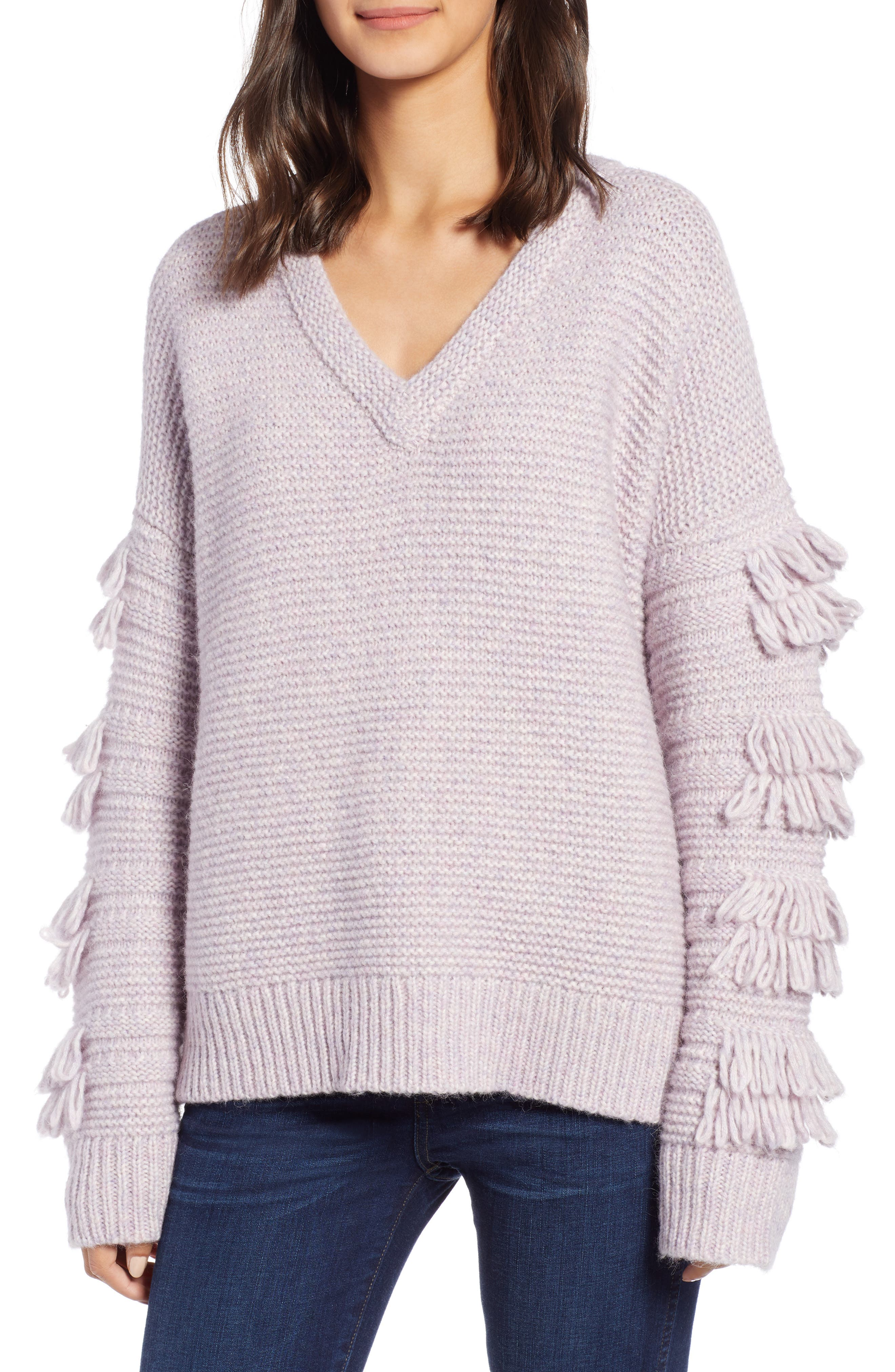 Fringe Sleeve Pullover Sweater, Main, color, HEATHER PERIWINKLE