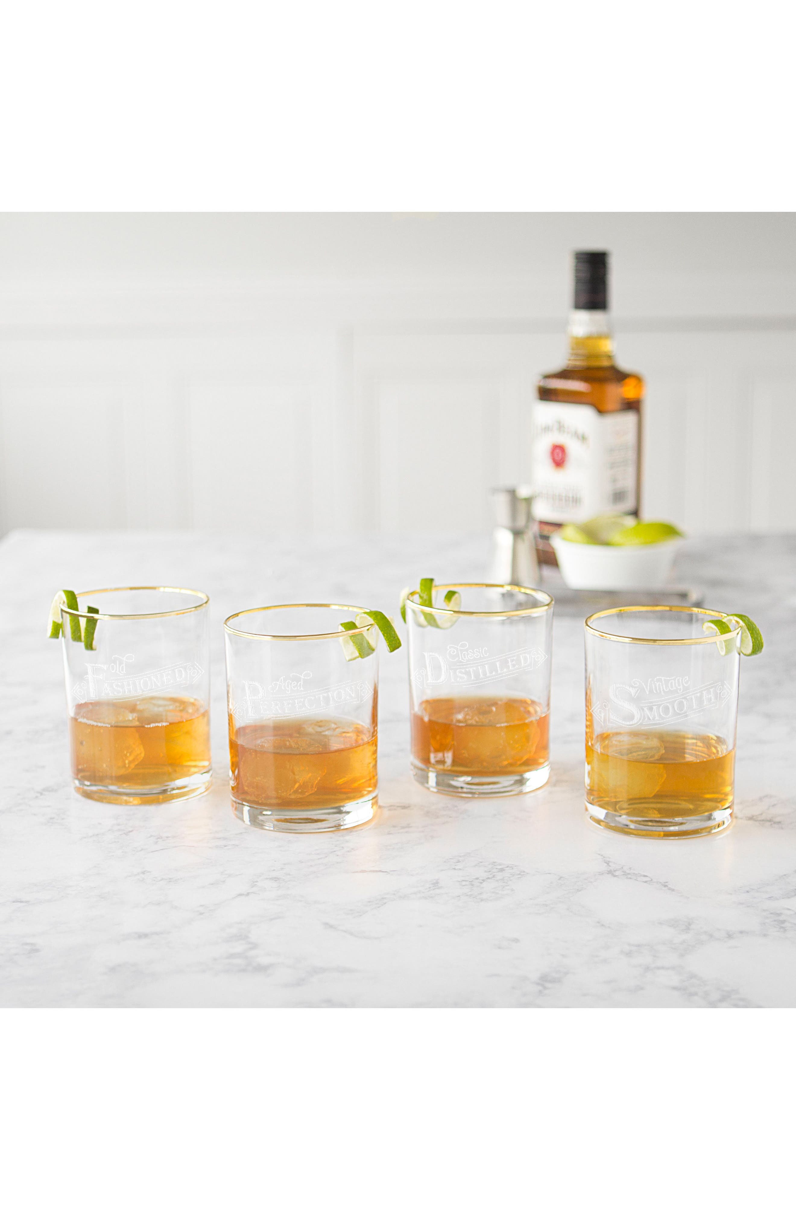Set of 4 Gold Rim Old Fashioned Whiskey Glasses,                             Alternate thumbnail 6, color,                             110