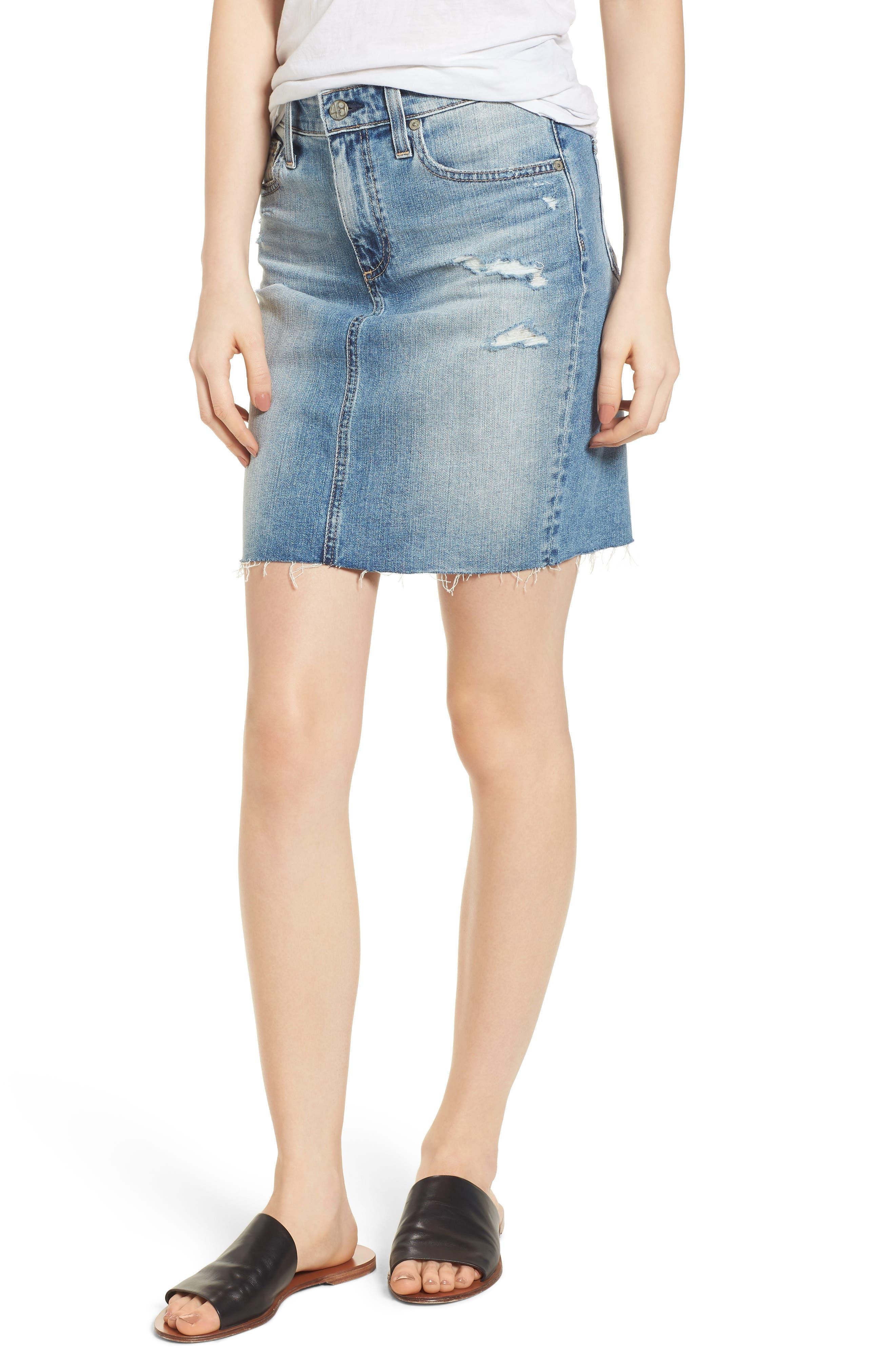 The Erin Distressed Denim Miniskirt,                         Main,                         color, 467