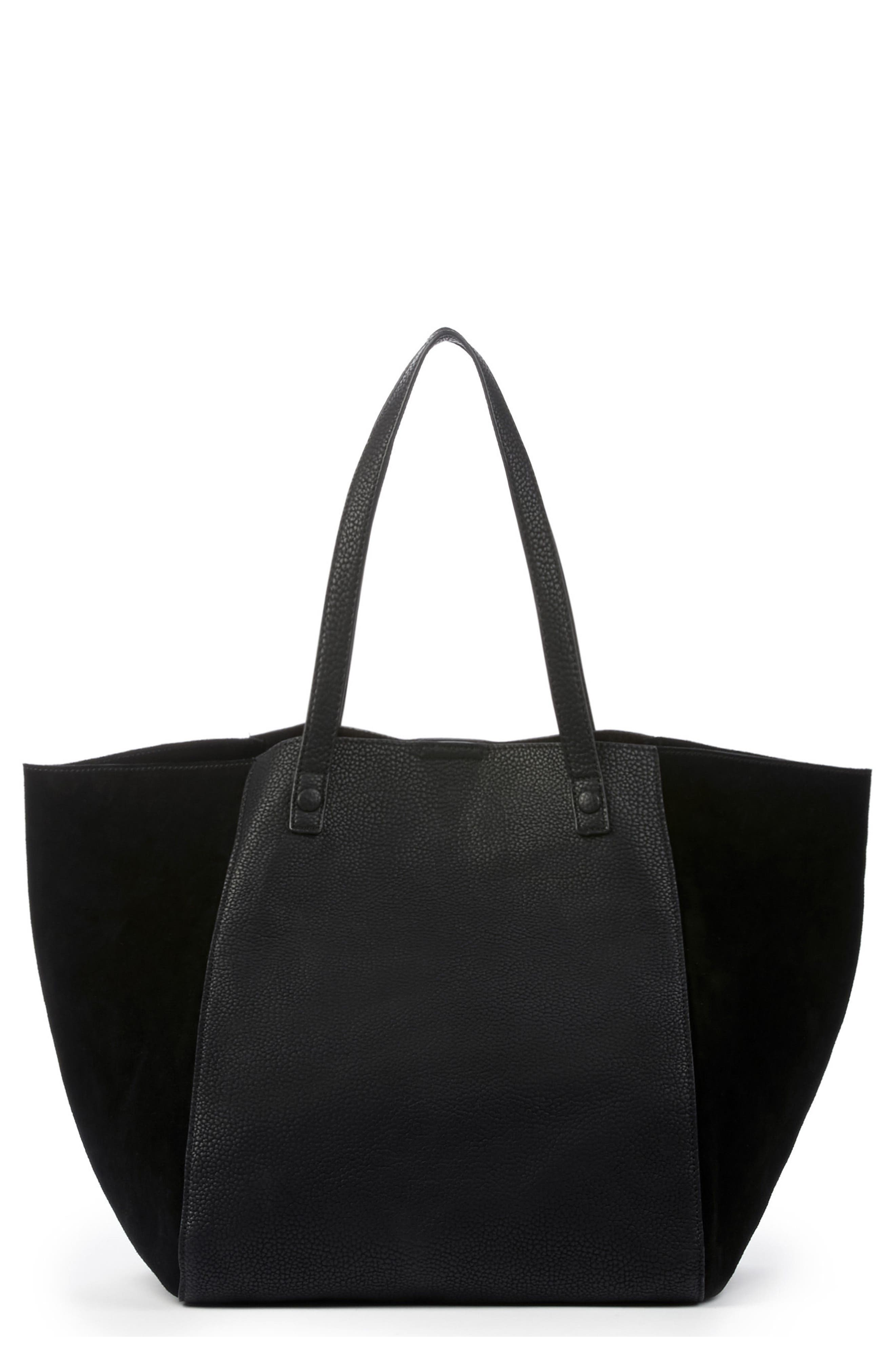 SOLE SOCIETY,                             Wesley Slouchy Suede Tote,                             Main thumbnail 1, color,                             001