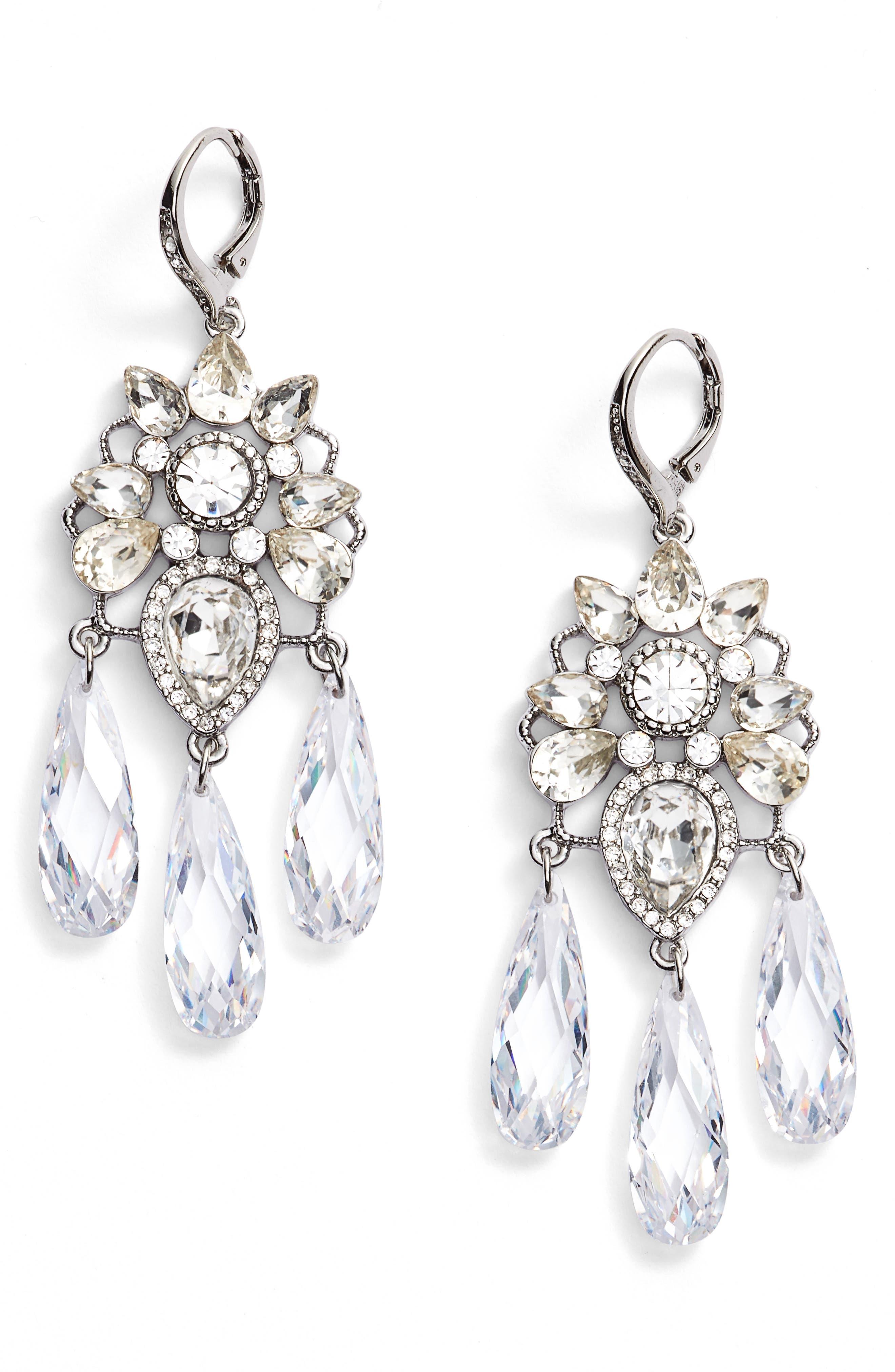 Chandelier Earrings,                         Main,                         color, SILVER