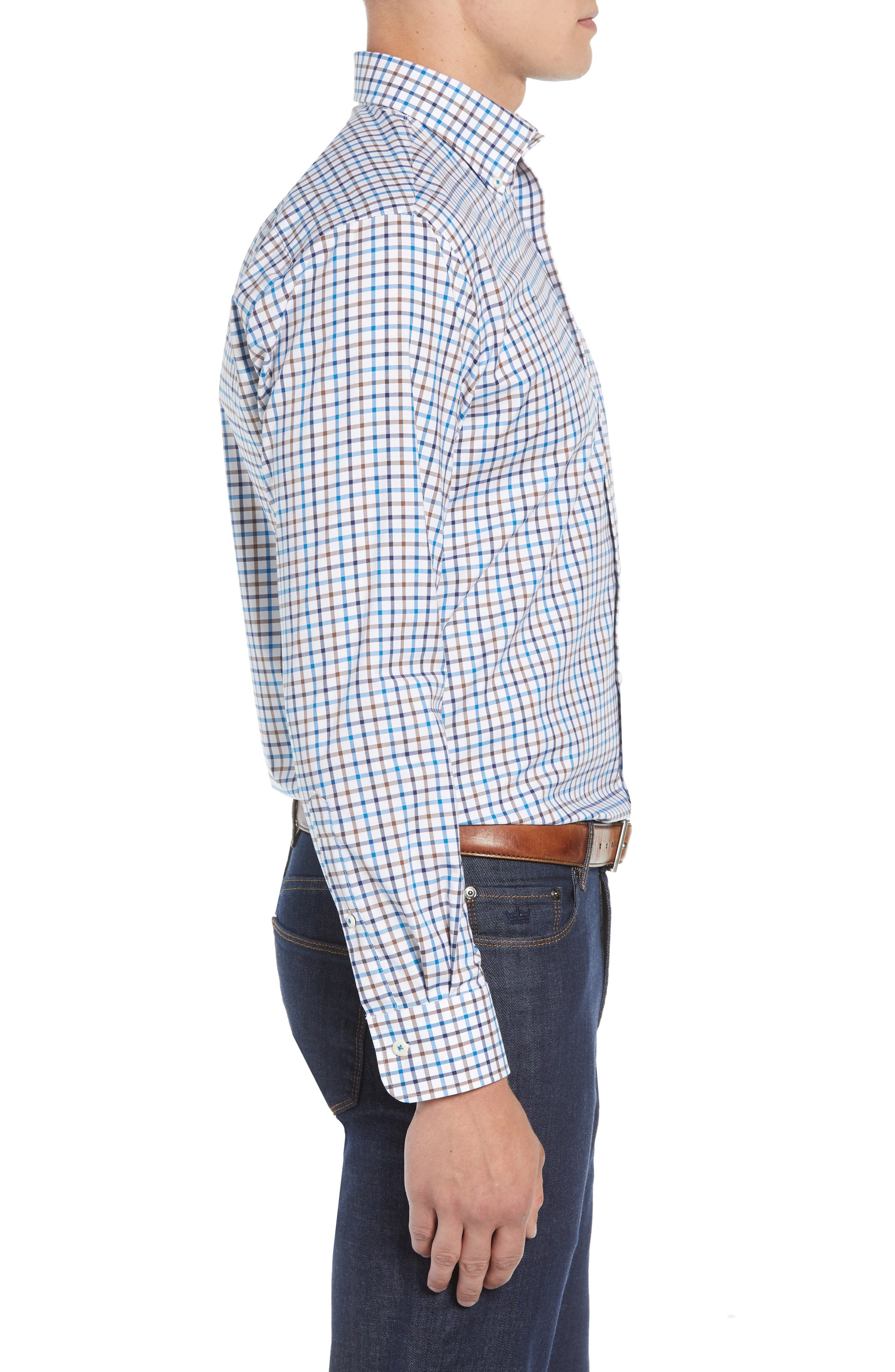 Crown Ease Eyre Regular Fit Tattersall Check Sport Shirt,                             Alternate thumbnail 4, color,                             BLUE