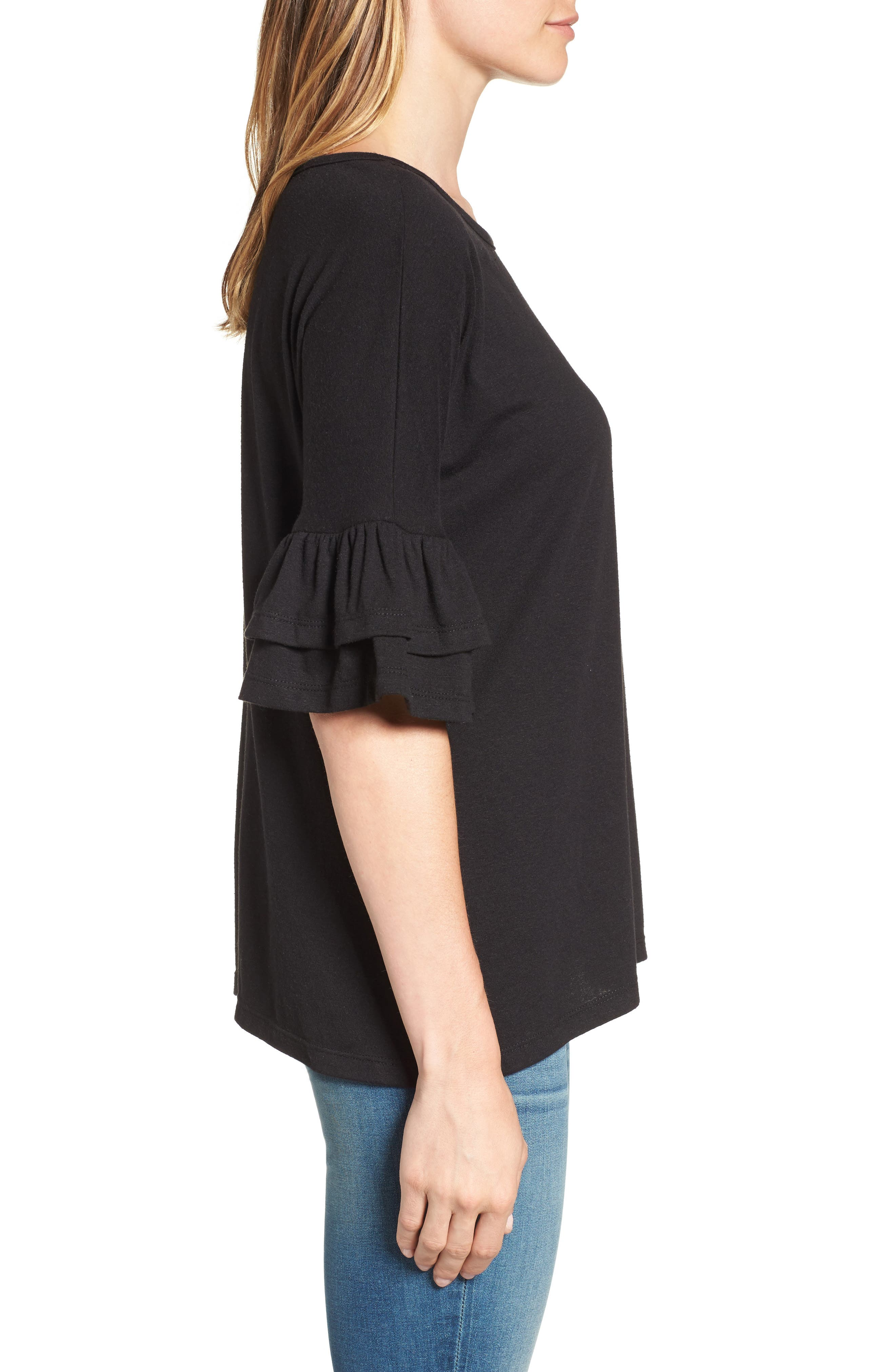 Tiered Bell Sleeve Tee,                             Alternate thumbnail 18, color,