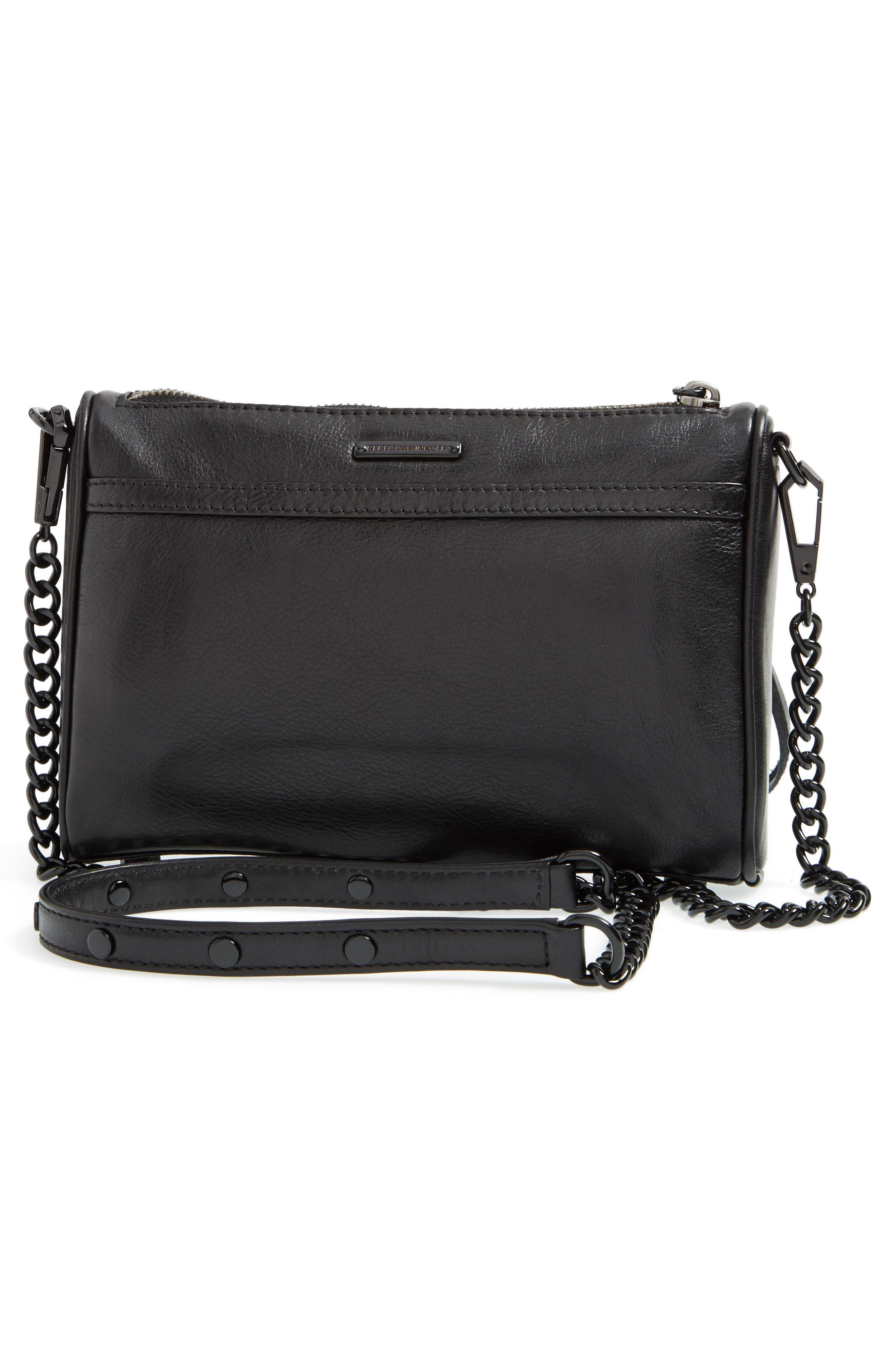 Mini MAC Convertible Crossbody Bag,                             Alternate thumbnail 4, color,                             BLACK/ BLACK HRDWR