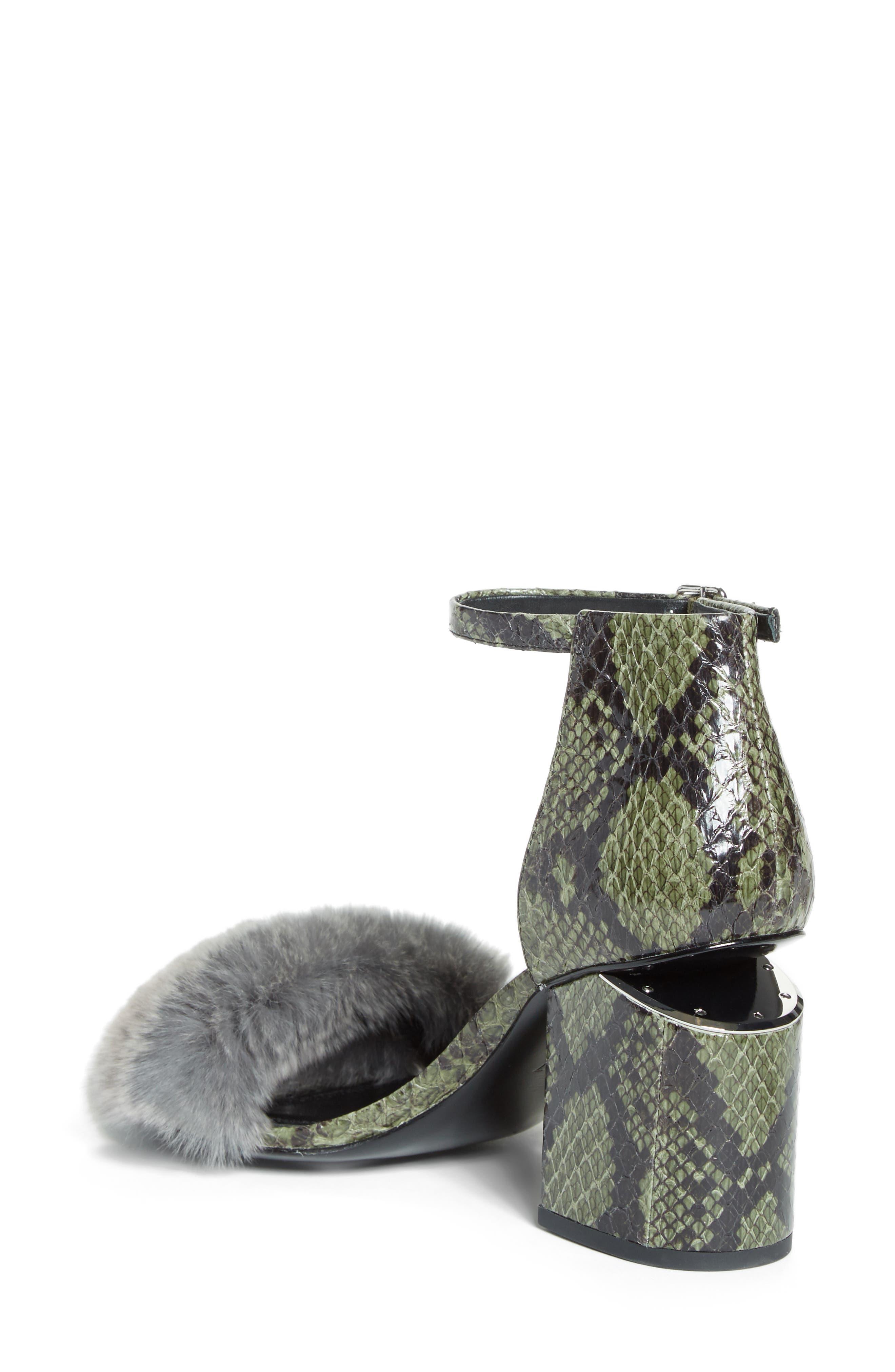 Abby Genuine Rabbit Fur & Snakeskin Sandal,                             Alternate thumbnail 2, color,
