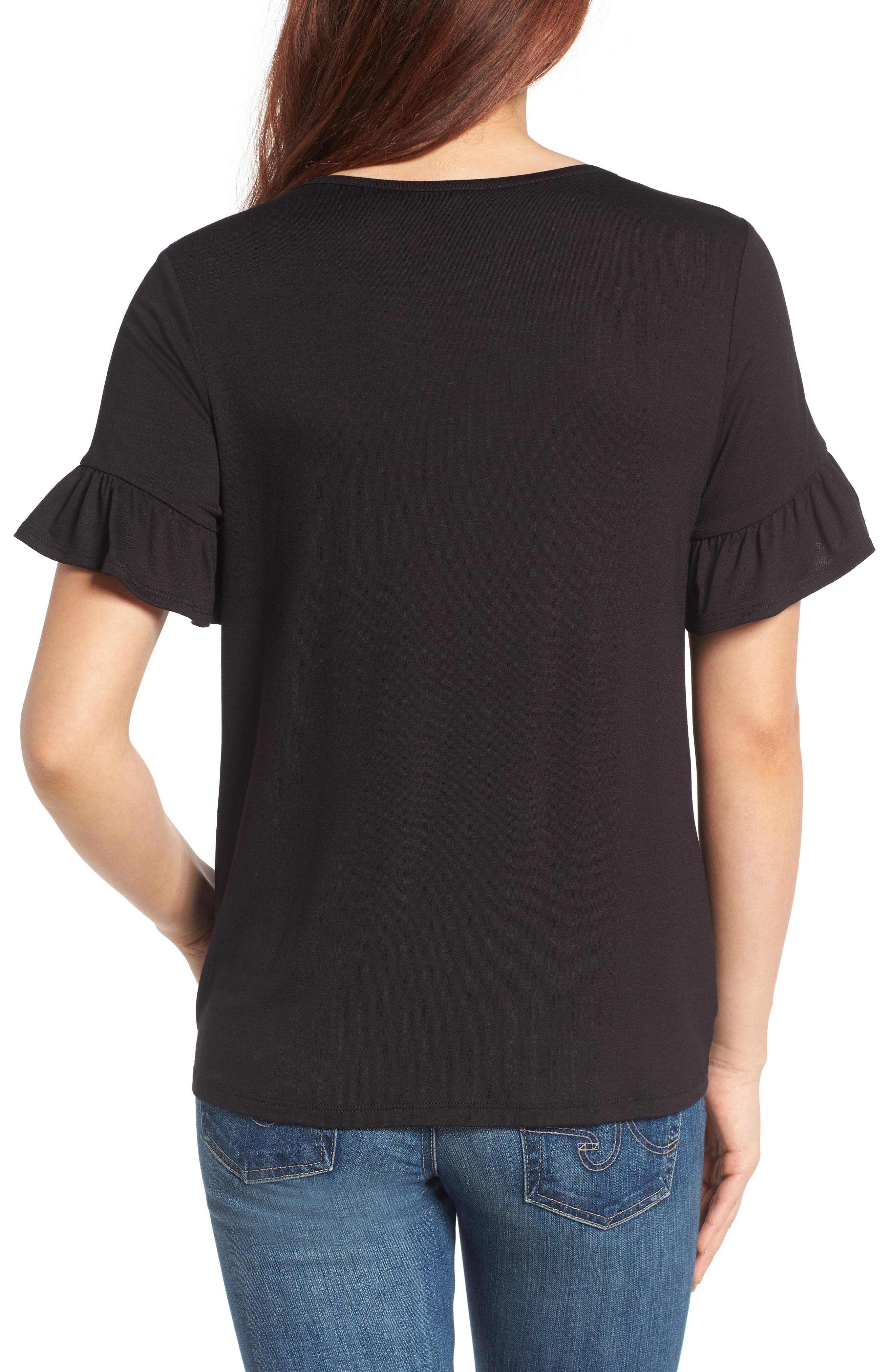Bell Sleeve Tie Front Top,                             Alternate thumbnail 2, color,                             001