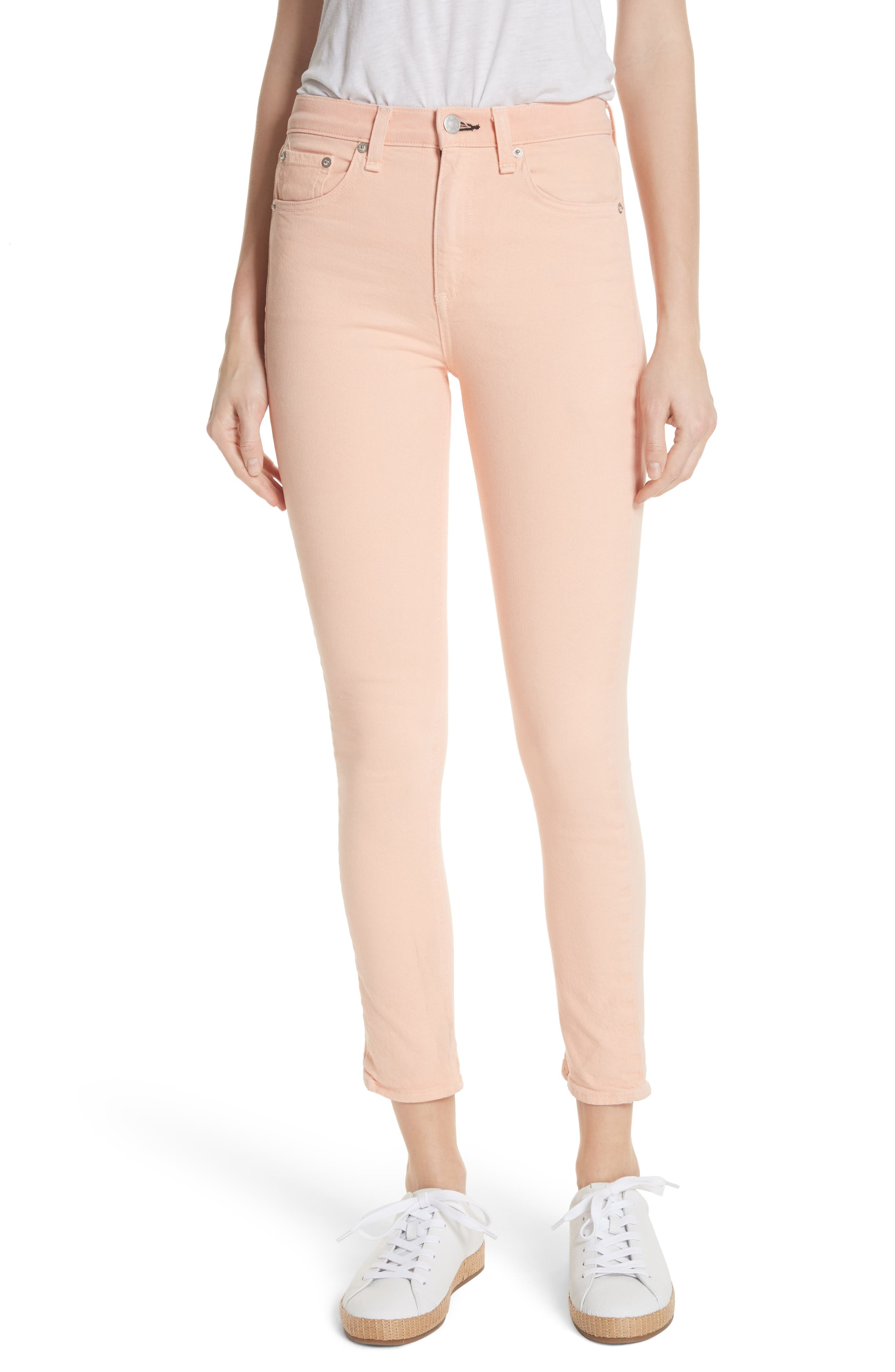 High Waist Ankle Skinny Jeans,                             Main thumbnail 1, color,