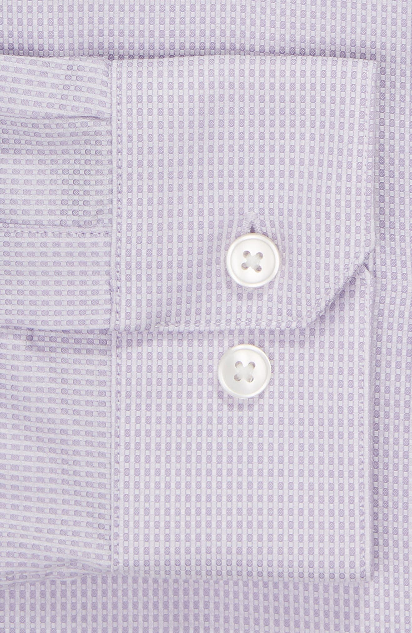 Slim Fit Stretch Check Dress Shirt,                             Alternate thumbnail 6, color,                             LAVENDER