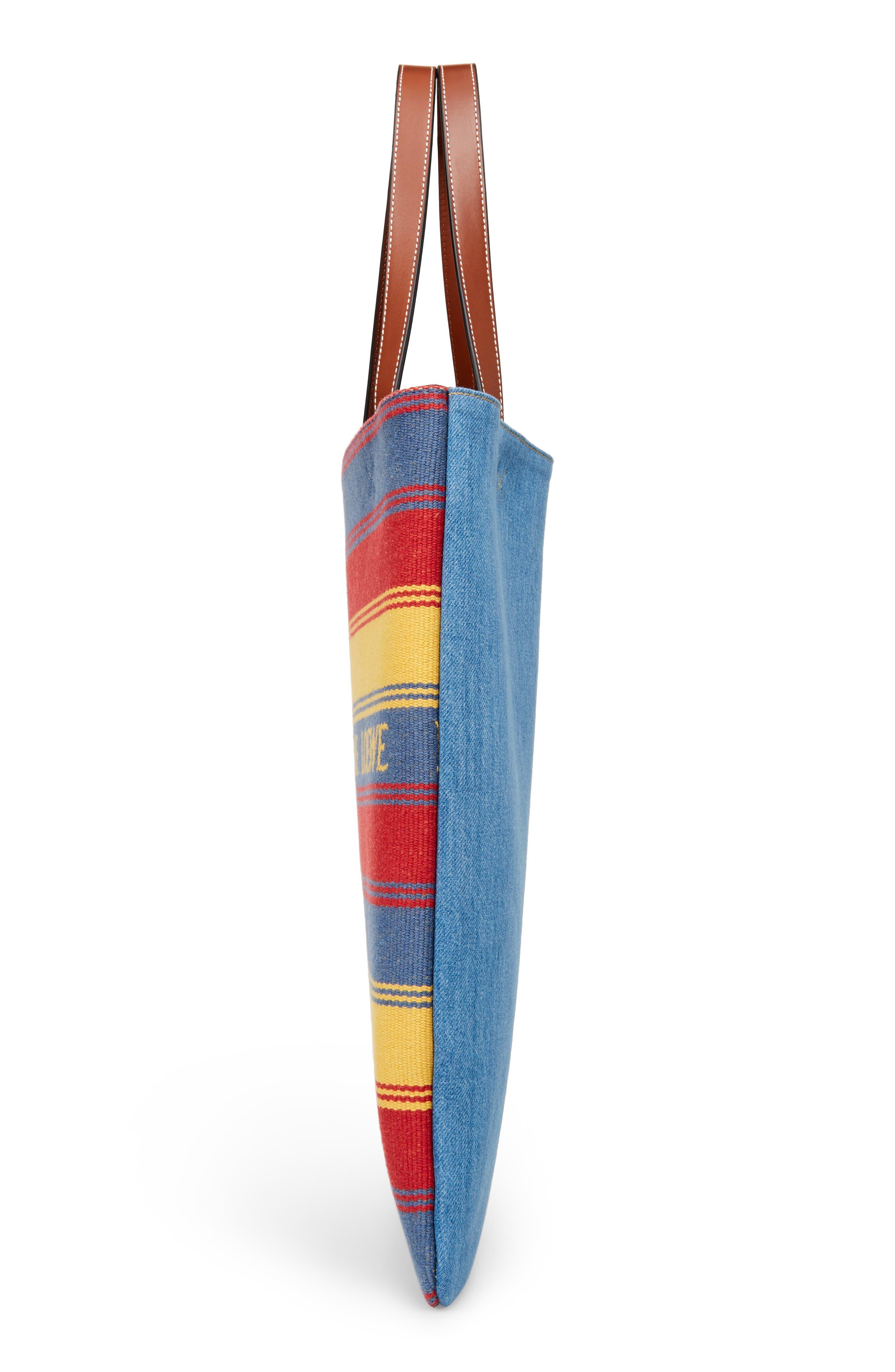 Stripe Denim Tote Bag,                             Alternate thumbnail 5, color,                             DENIM/ TAN