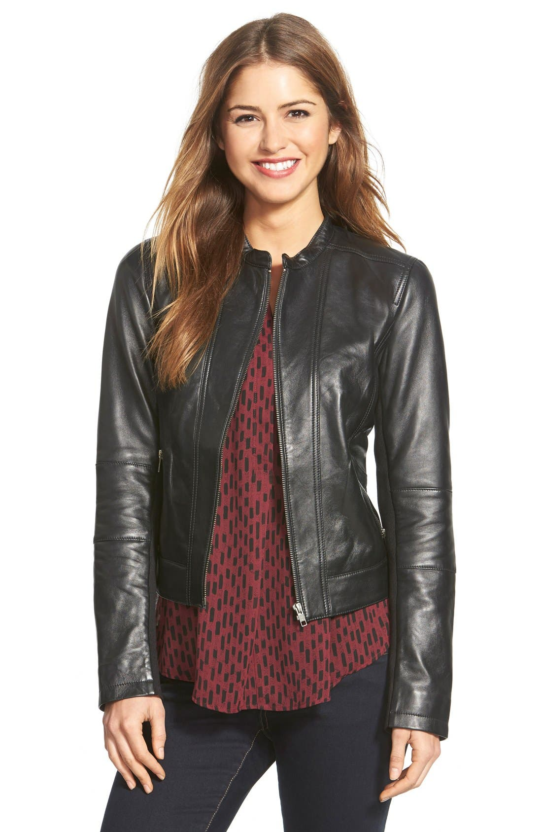Seam Detail Leather Jacket,                         Main,                         color, 001