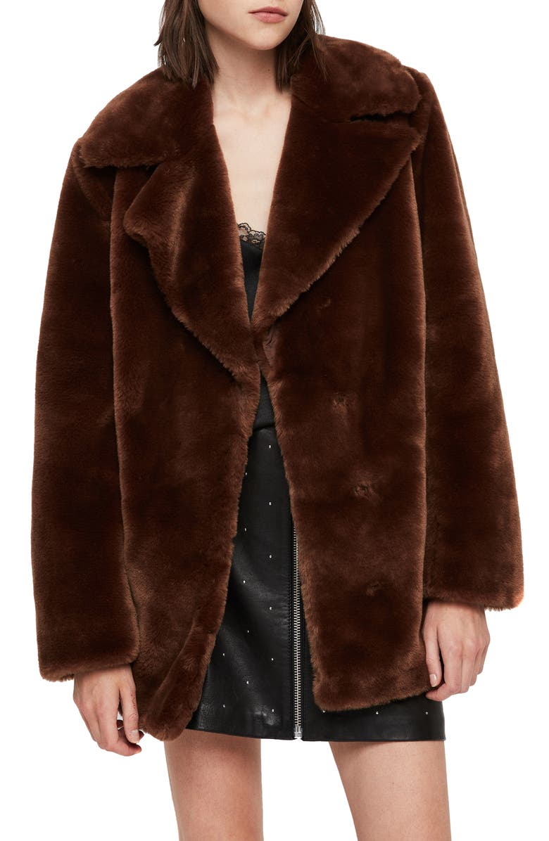 Amice Faux Fur Jacket,                         Main,                         color, TOFFEE BROWN