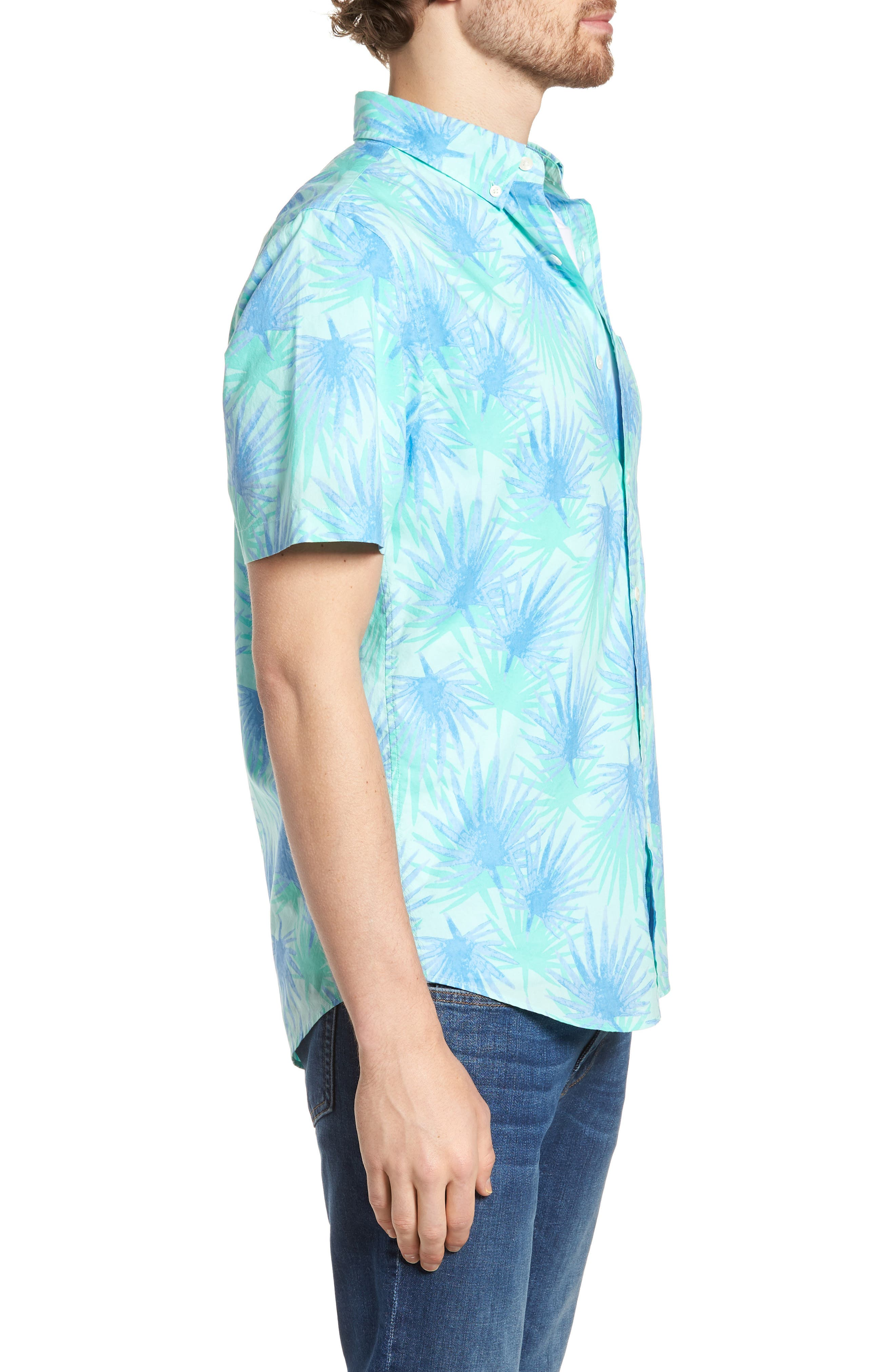 Electric Palm Slim Fit Print Short Sleeve Sport Shirt,                             Alternate thumbnail 3, color,                             400