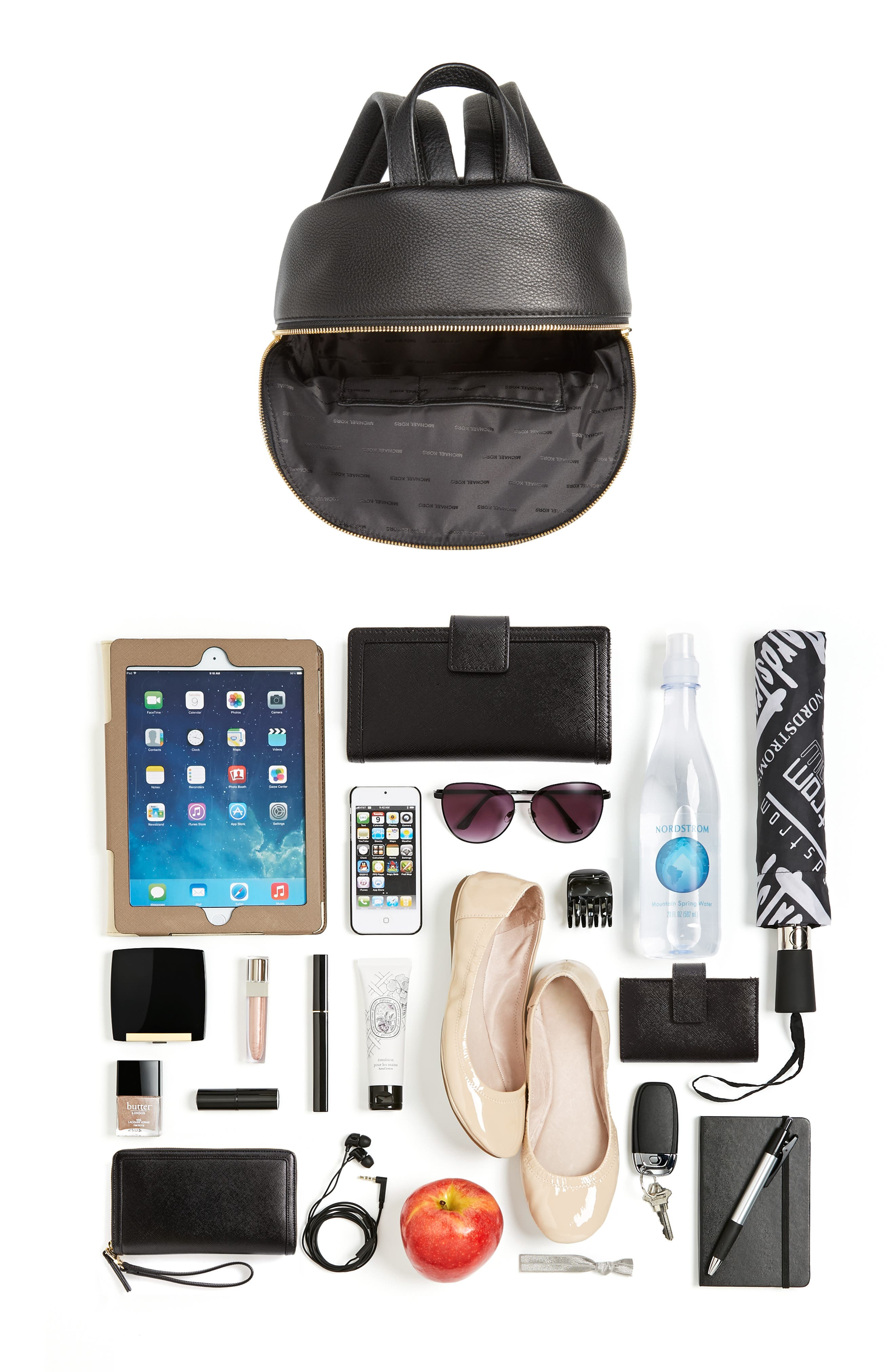 Large Wythe Studded Leather Backpack,                             Alternate thumbnail 7, color,                             001