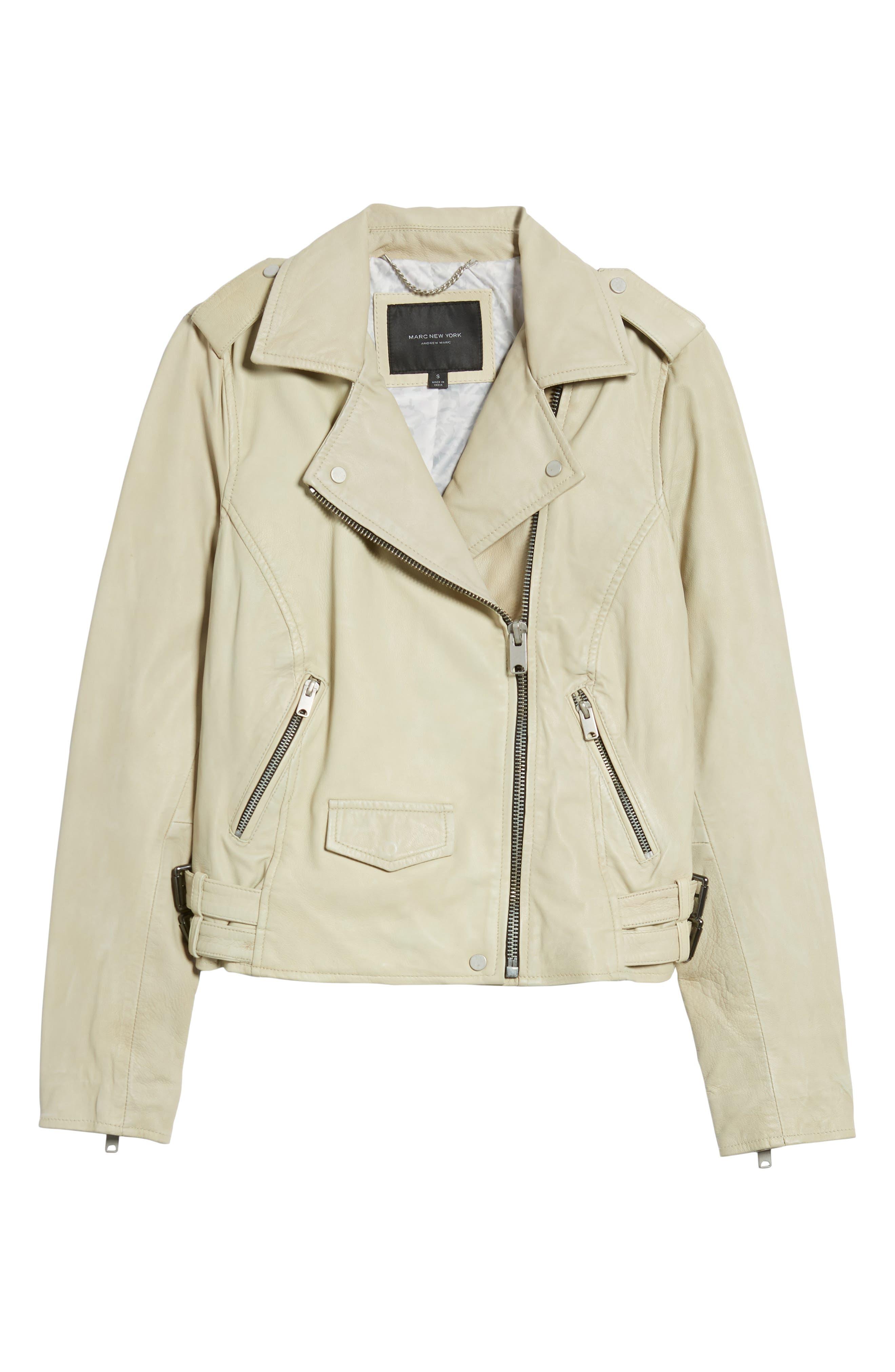 Whitney Washed Leather Crop Jacket,                             Alternate thumbnail 6, color,                             277