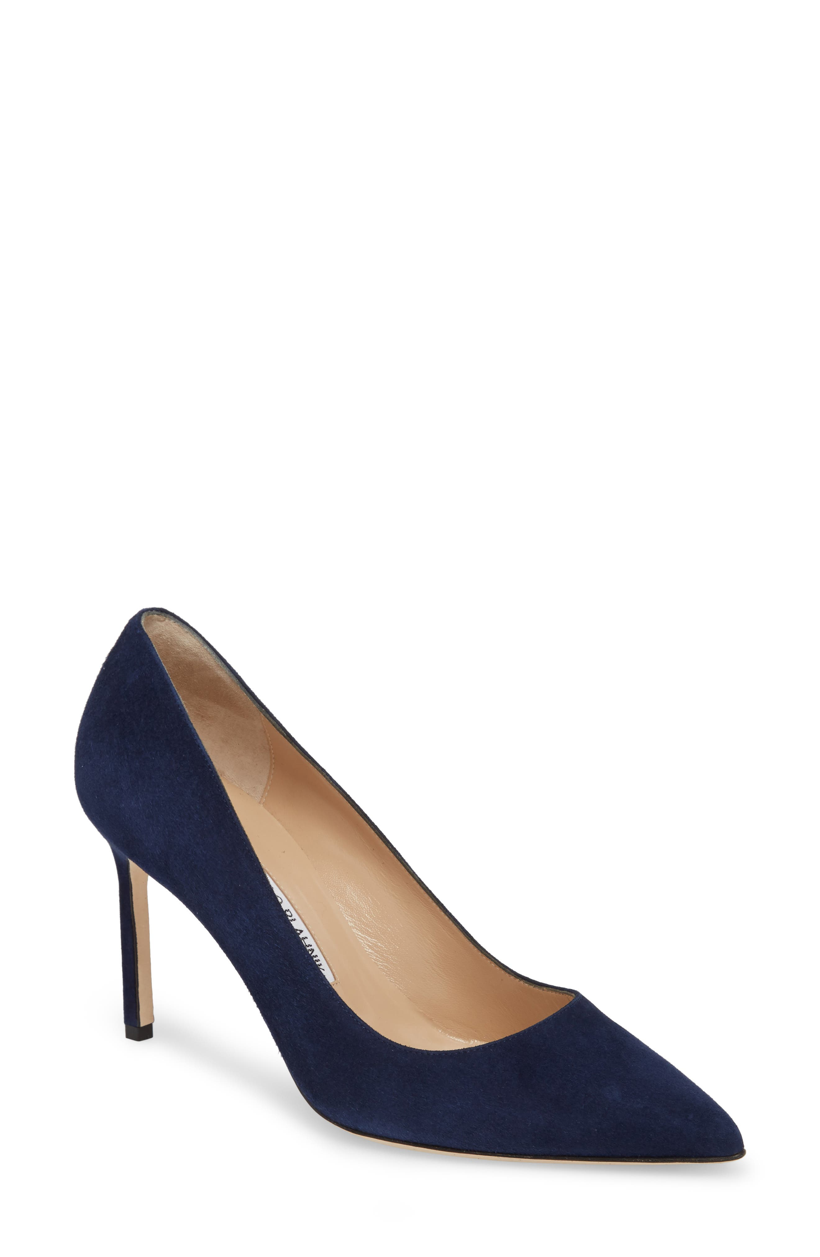 BB Pointy Toe Pump,                             Main thumbnail 1, color,                             NAVY SUEDE