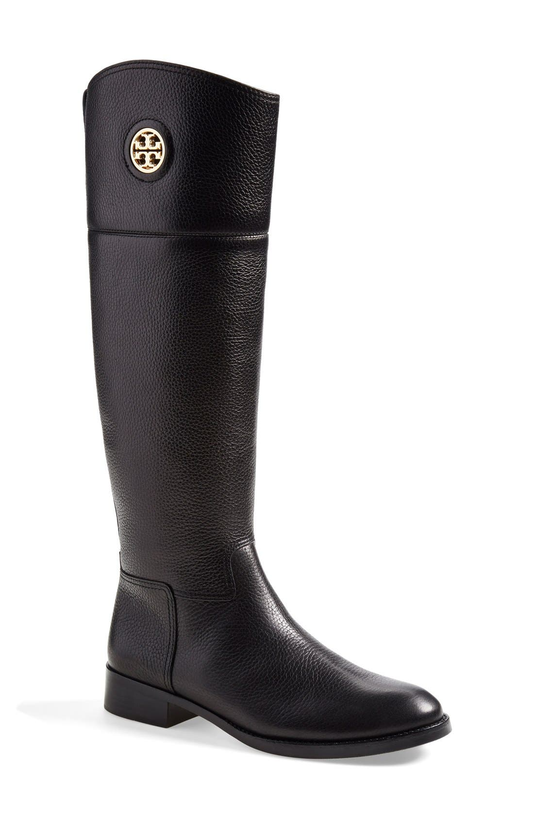 TORY BURCH,                             'Junction' Riding Boot,                             Main thumbnail 1, color,                             001