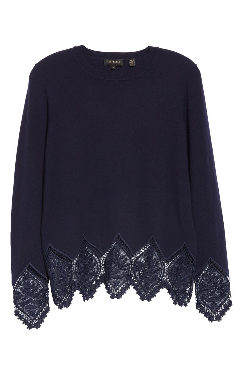 01bf9a8f3b Shop Ted Baker Aylex Lace Detail Wool Cashmere Blend Sweater In Dark ...