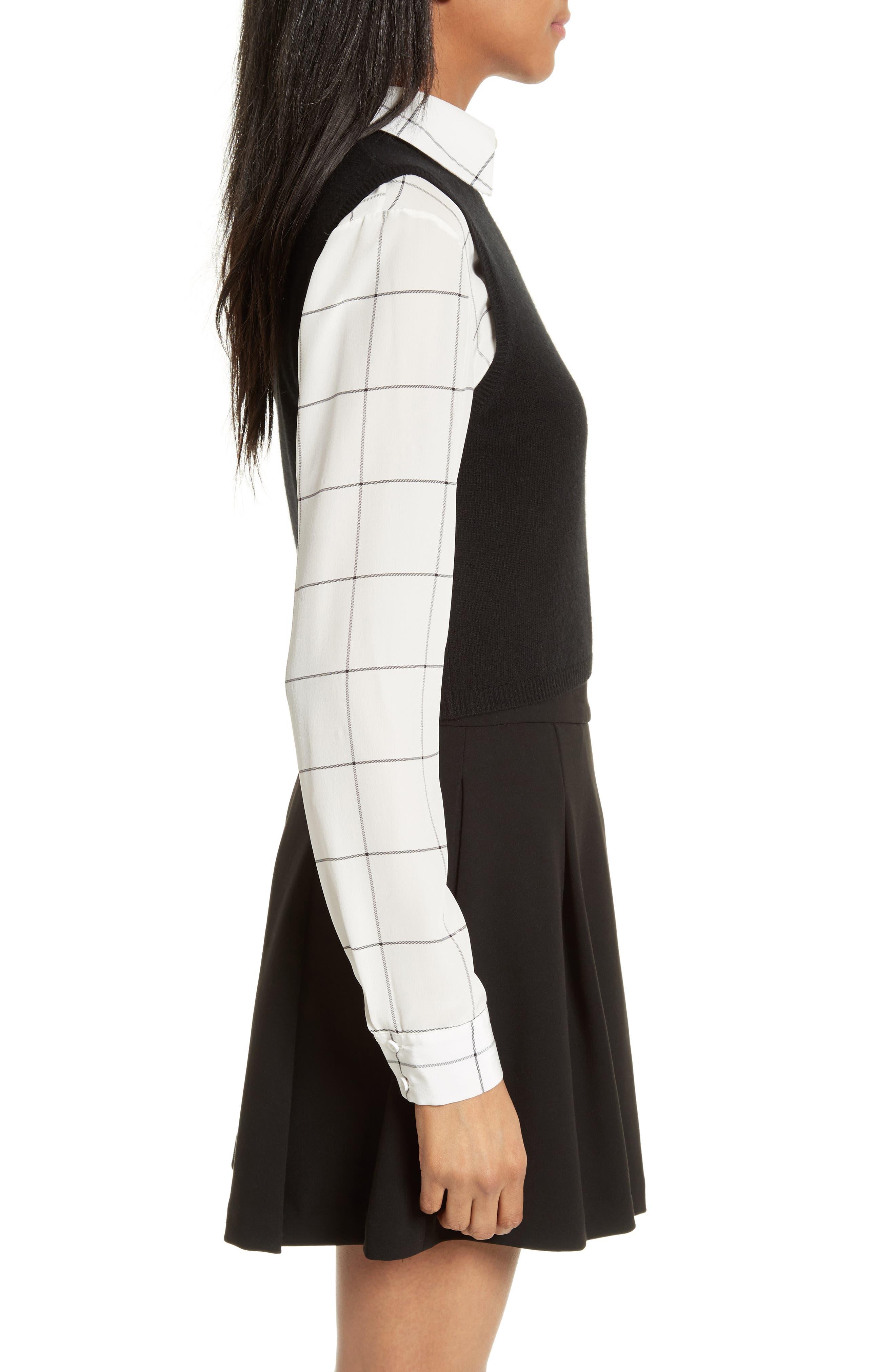 Lucinda Crop Sweater Vest & Shirt,                             Alternate thumbnail 3, color,                             007