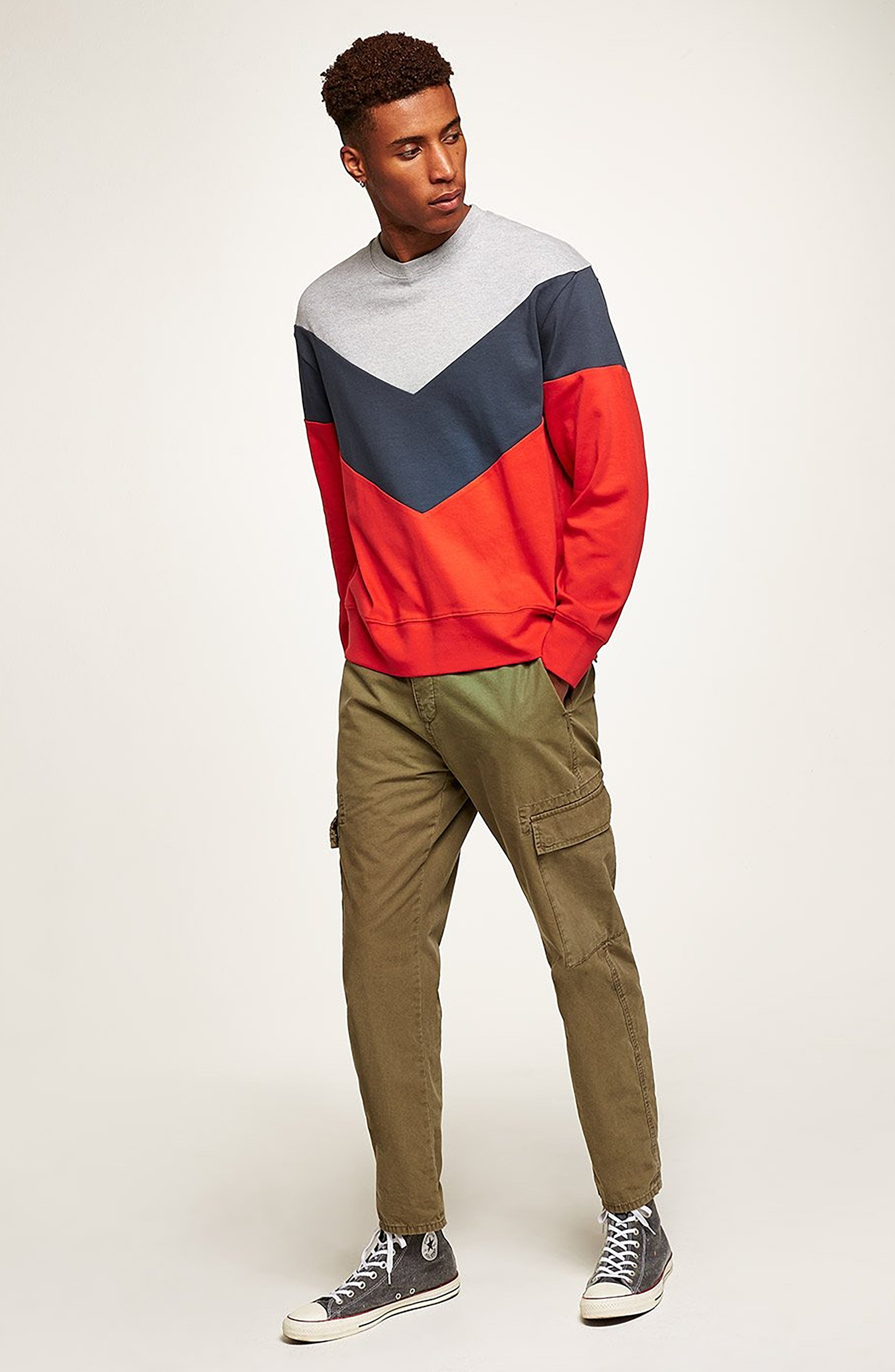 Chevron Colorblock Sweatshirt,                             Alternate thumbnail 5, color,                             RED MULTI