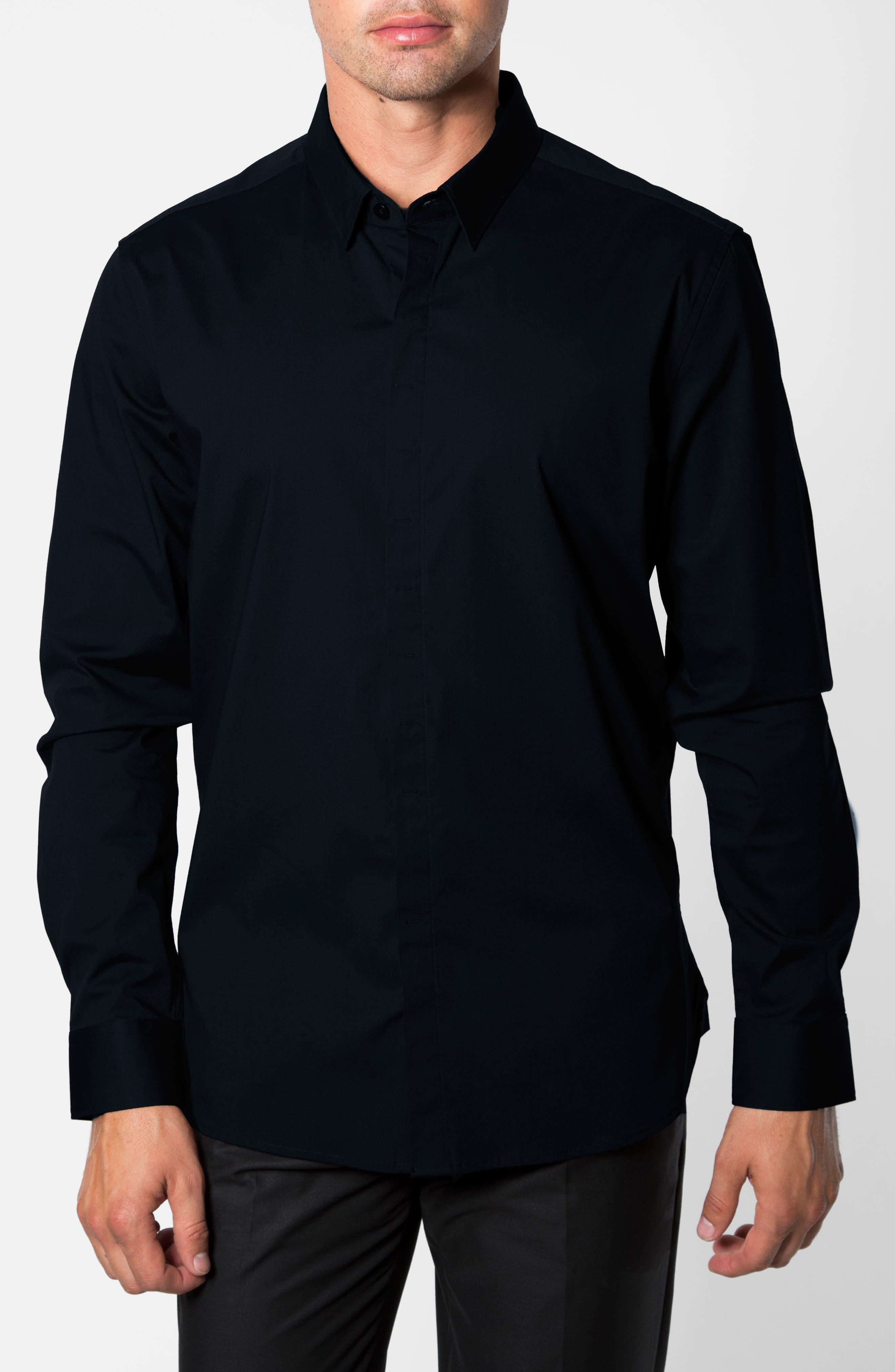 'Peace Train' Trim Fit Woven Shirt,                             Alternate thumbnail 6, color,