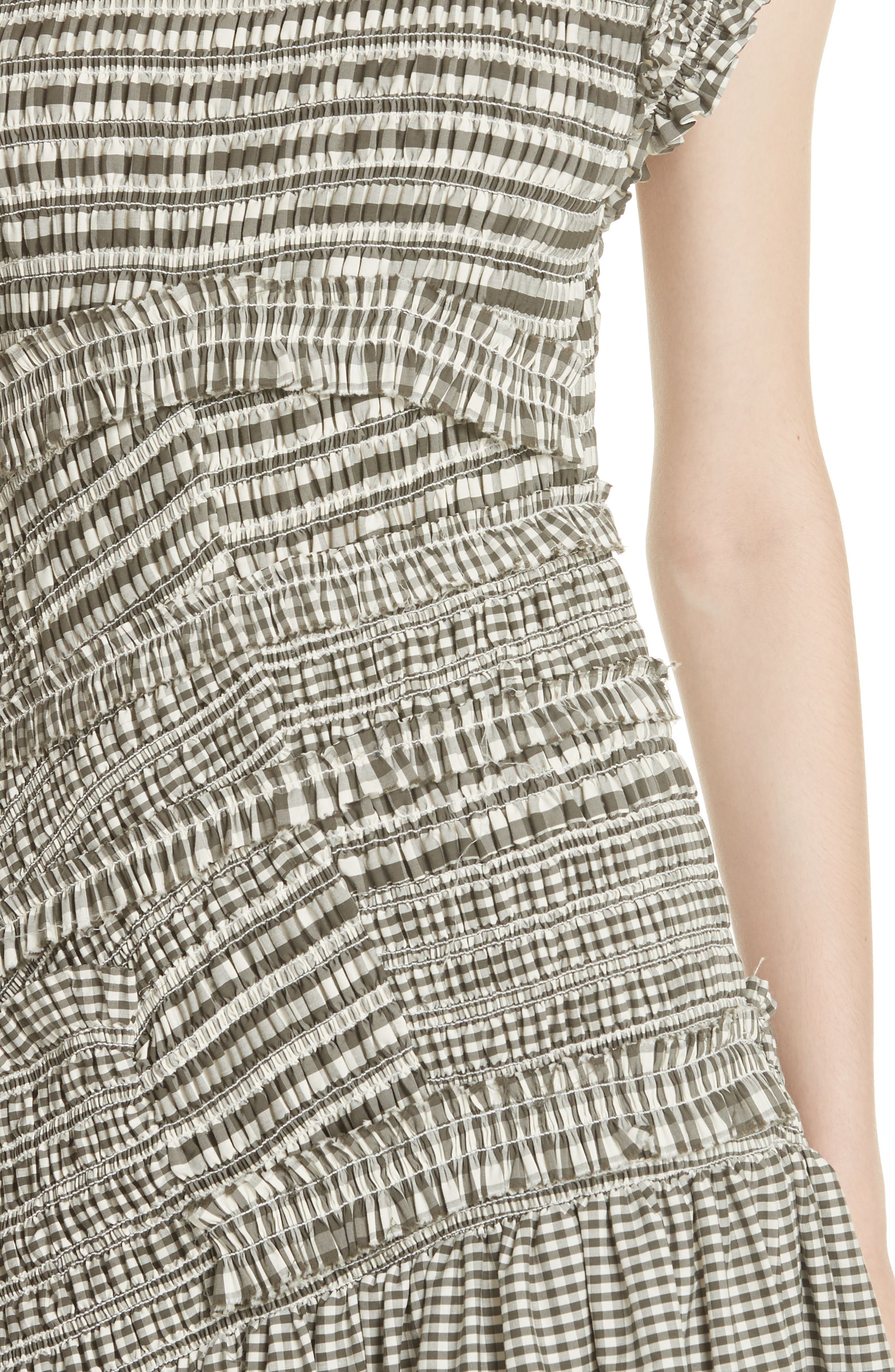 Gathered Gingham Drop Waist Dress,                             Alternate thumbnail 4, color,                             033