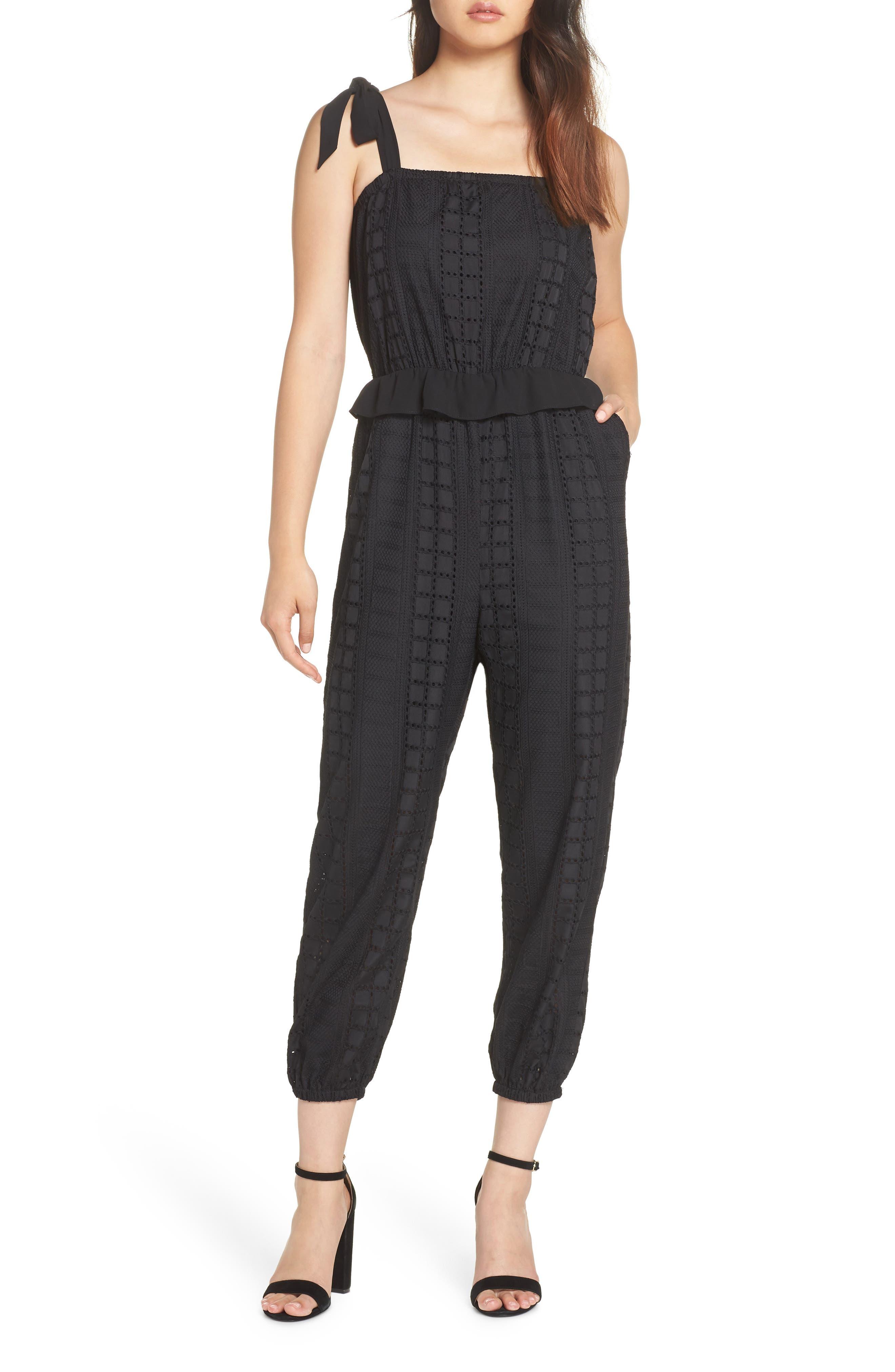 Ruffle Waist Sleeveless Jumpsuit,                         Main,                         color, BLACK