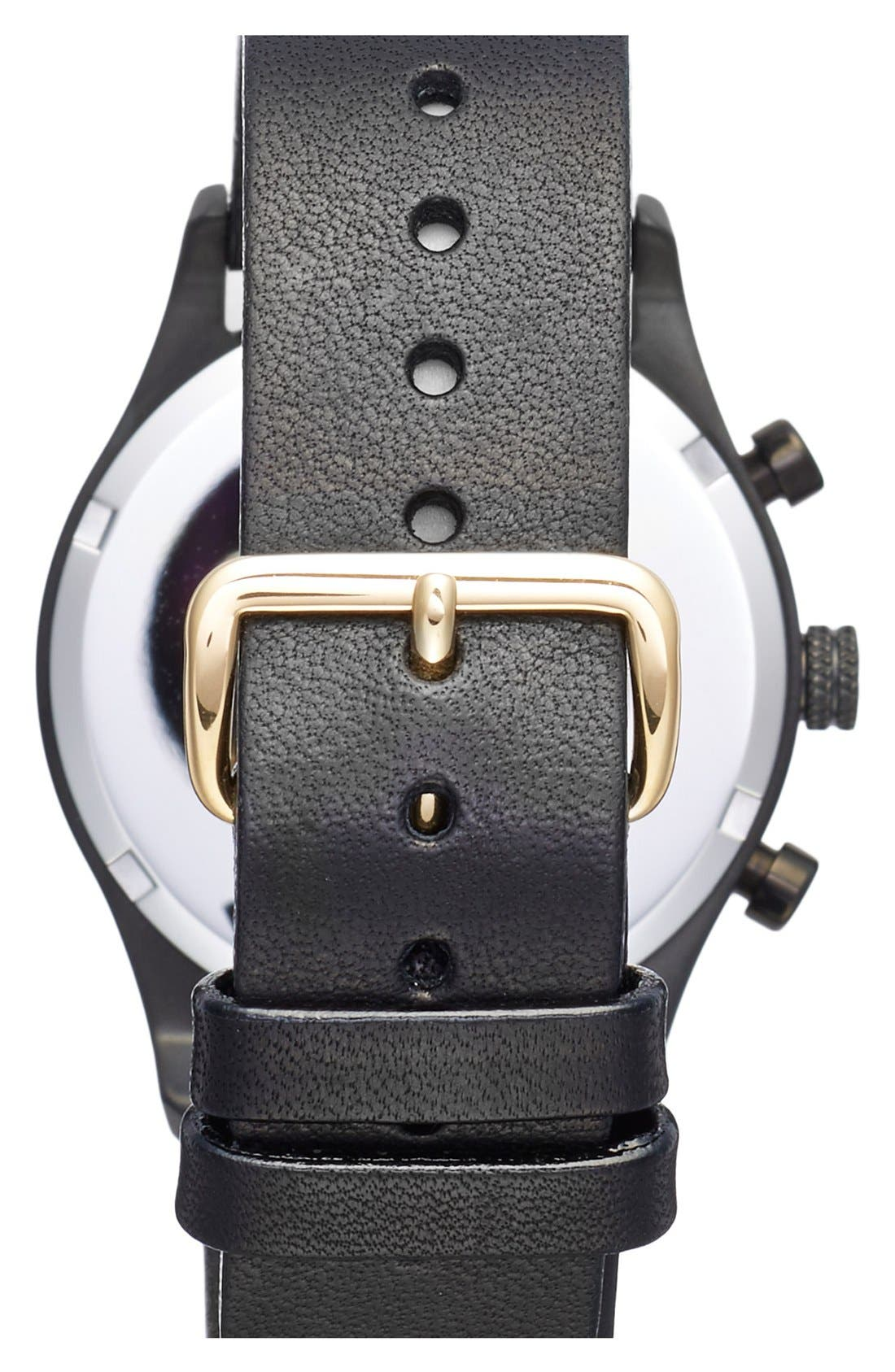 Sort of Black Chronograph Leather Strap Watch, 38mm,                             Alternate thumbnail 3, color,