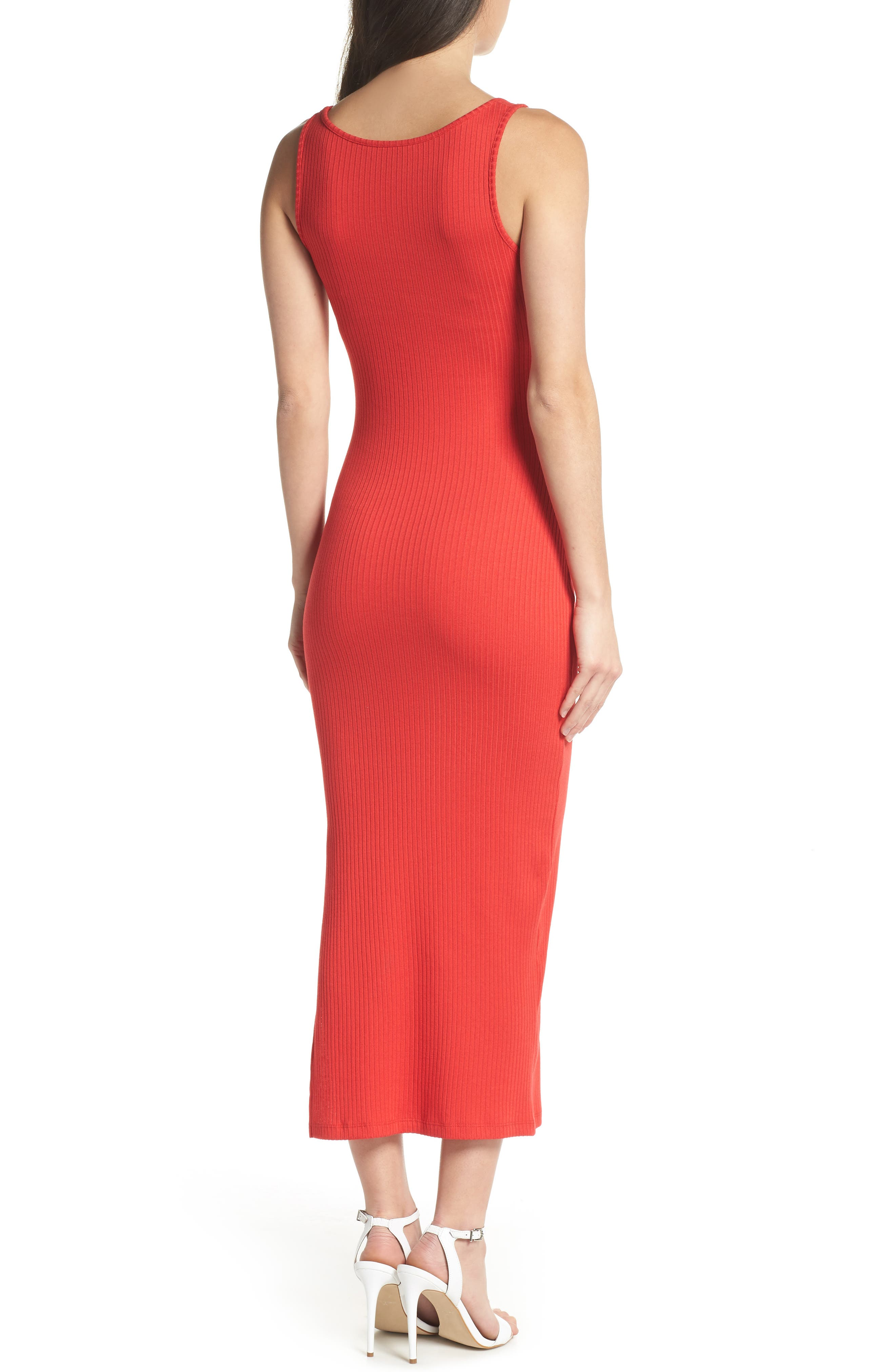 Tommy Rib Knit Tank Dress,                             Alternate thumbnail 2, color,                             SHANGHAI RED