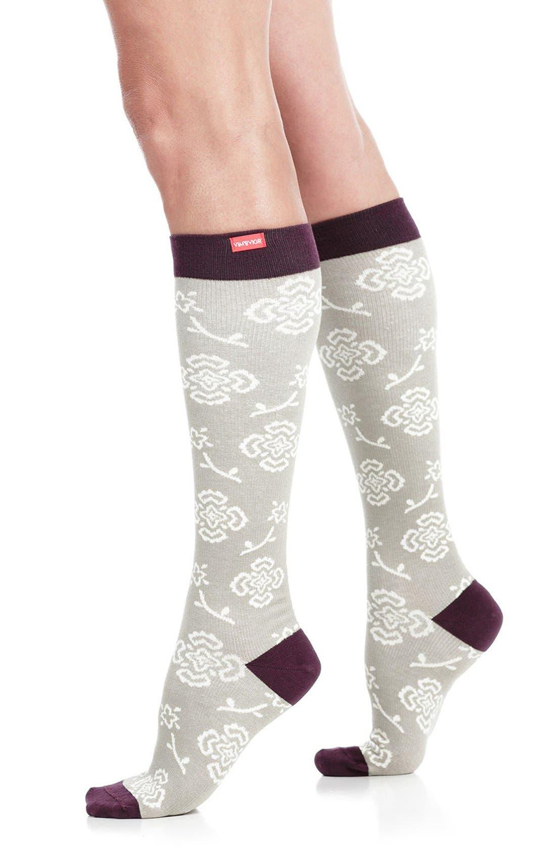 Queen's Floral Compression Trouser Socks,                             Main thumbnail 1, color,                             020