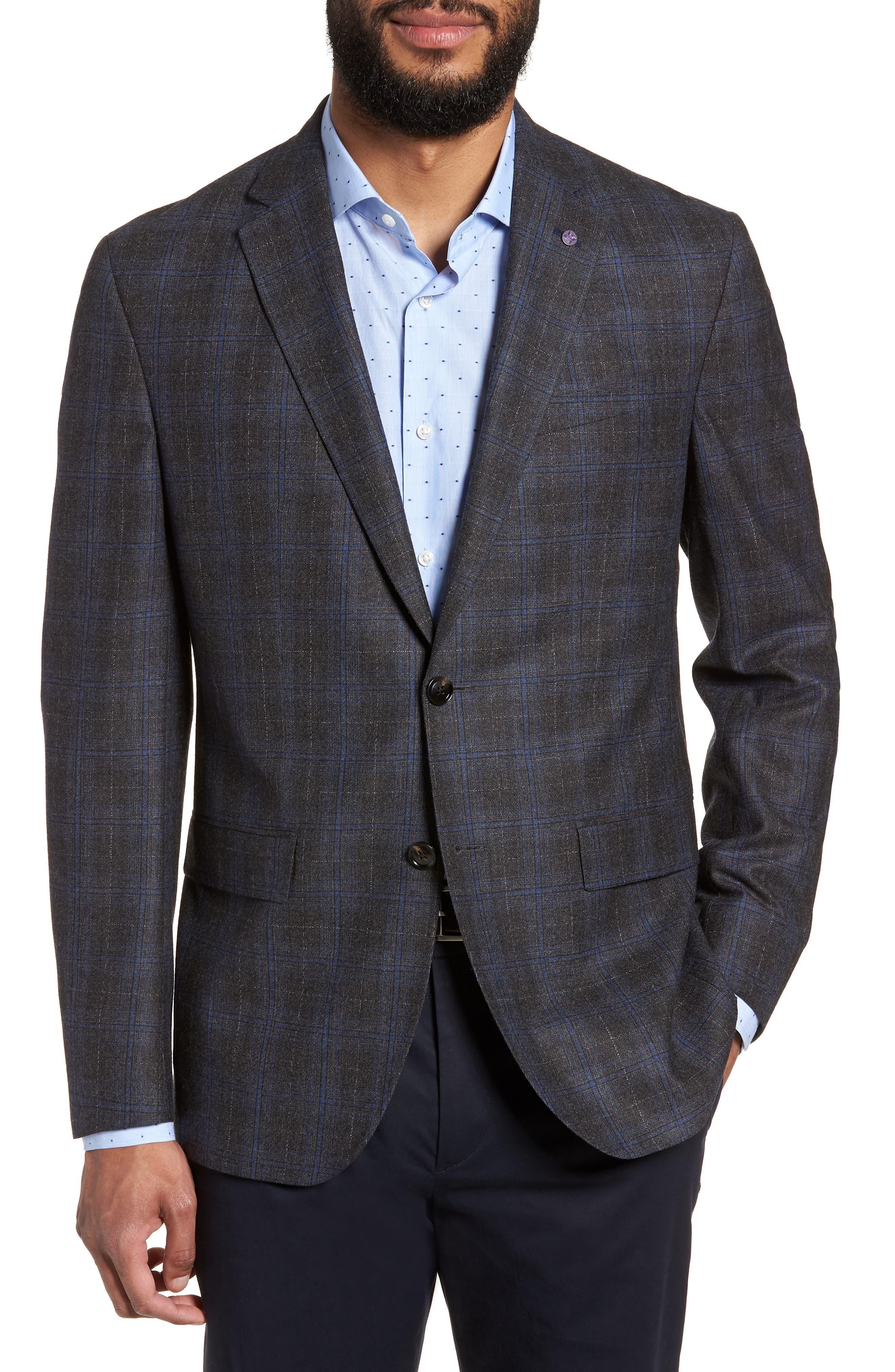 Konan Trim Fit Plaid Wool Sport Coat,                             Main thumbnail 1, color,                             020