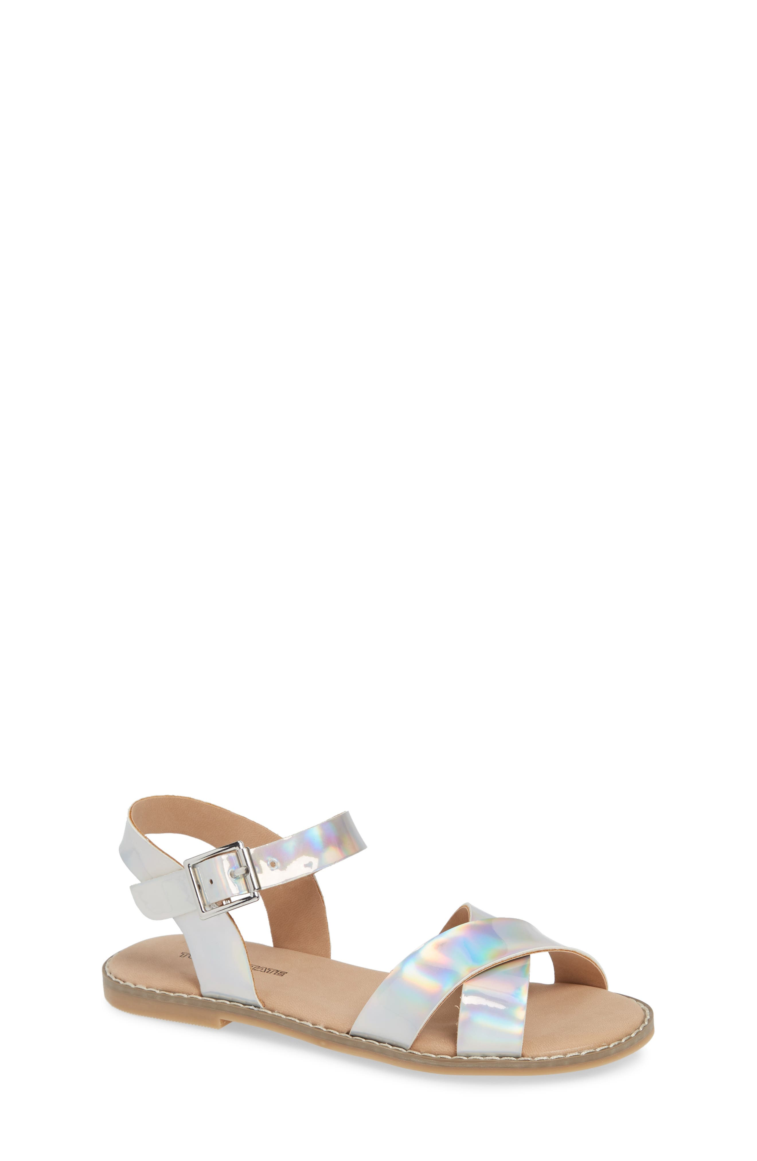 Arya Cross Strap Sandal,                         Main,                         color, SILVER HOLOGRAM FAUX LEATHER