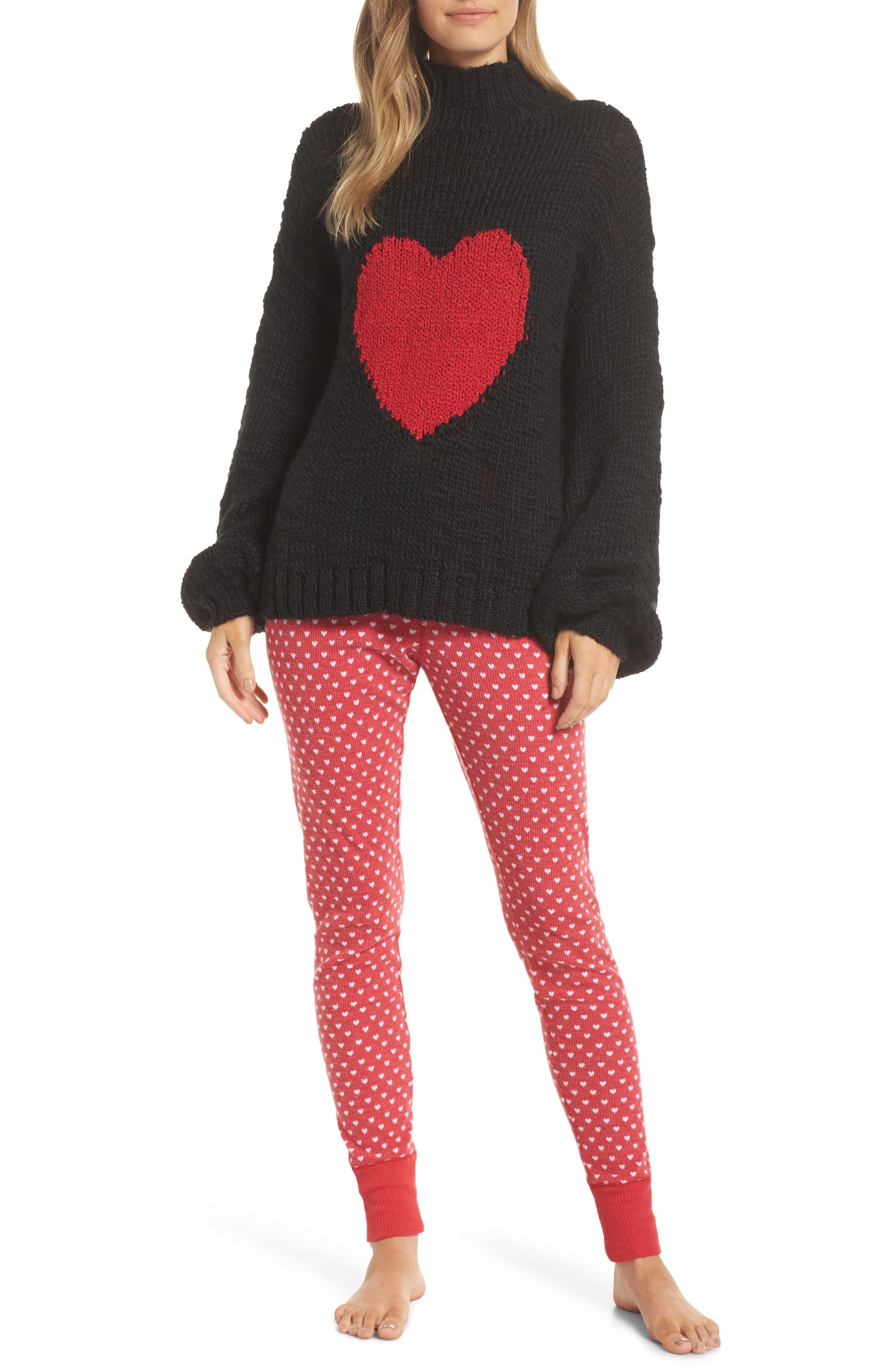 Thermal Leggings,                             Alternate thumbnail 7, color,                             RED LIPSTICK HEART
