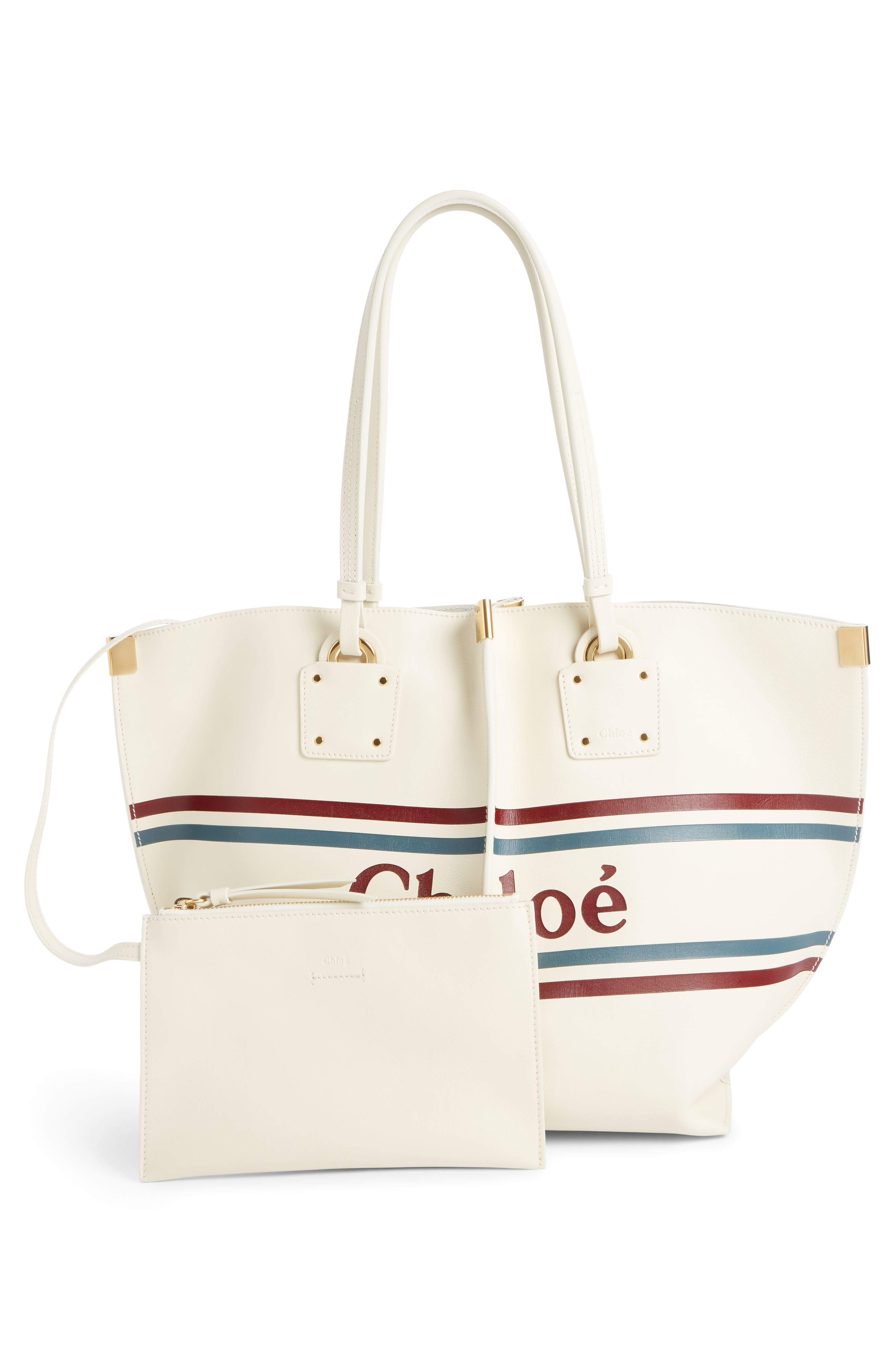 Vick Logo Embossed Leather Tote,                             Alternate thumbnail 2, color,                             OFF WHITE