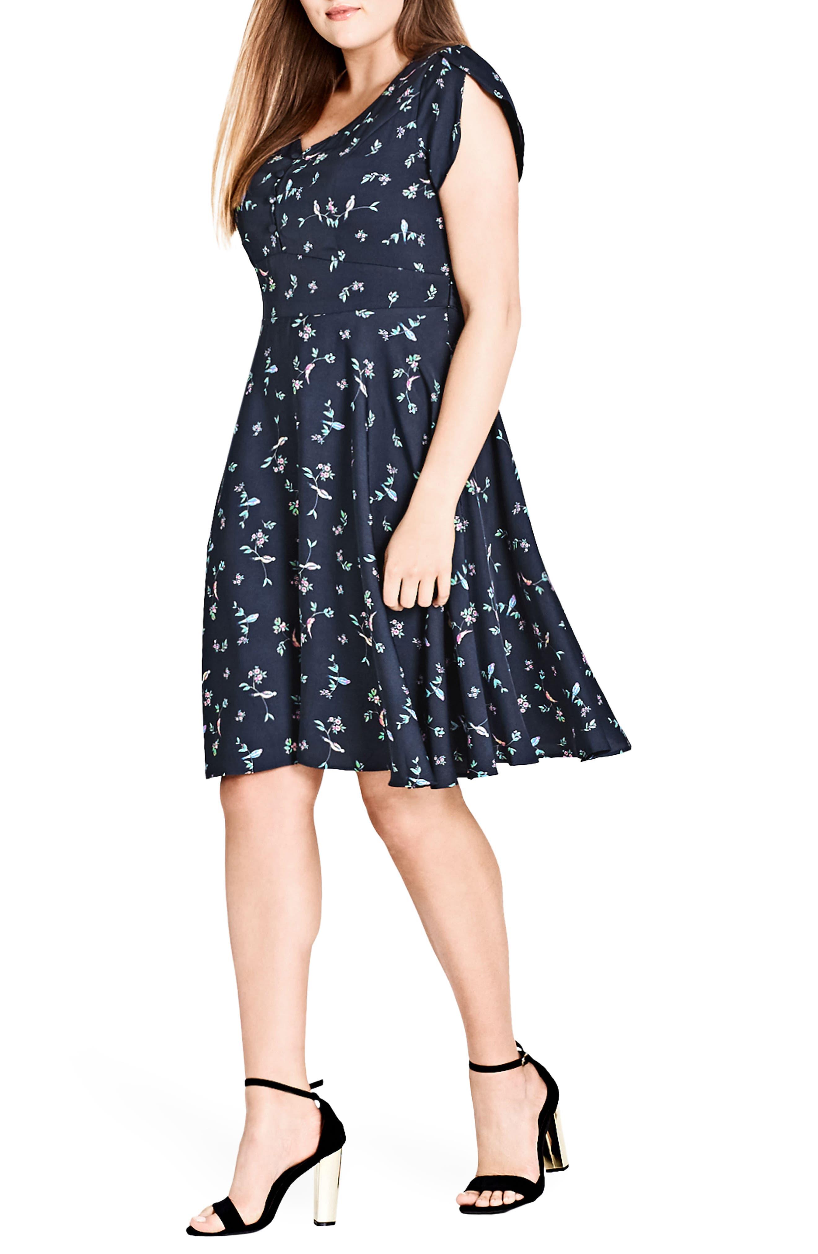 Sweet Tweet Fit & Flare Dress,                             Alternate thumbnail 3, color,                             SWEET TWEET