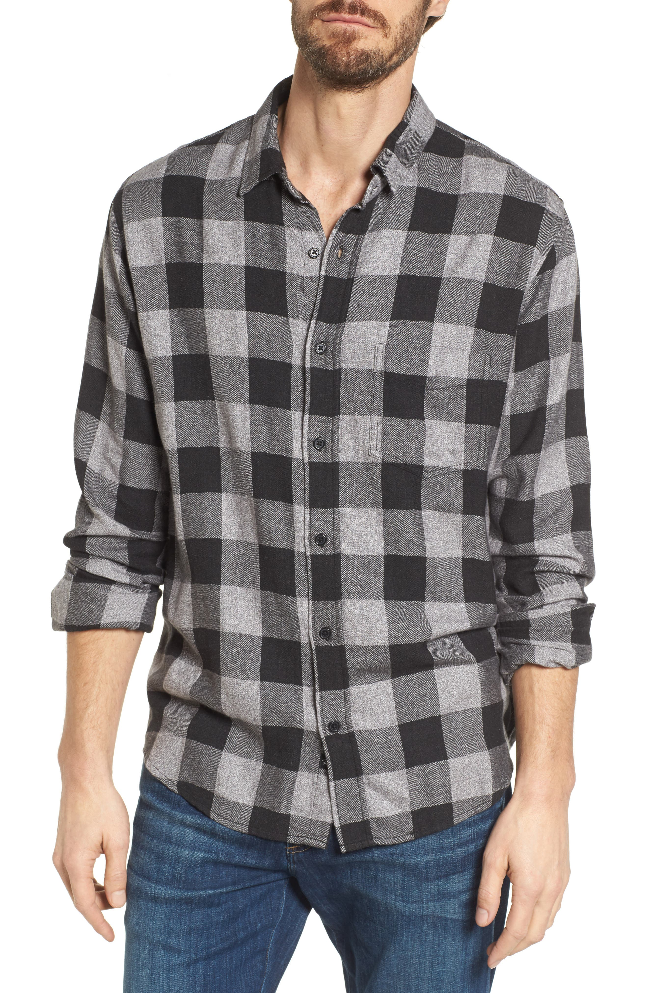 Lennox Sport Shirt,                         Main,                         color, CHARCOAL/ BLACK CHECK