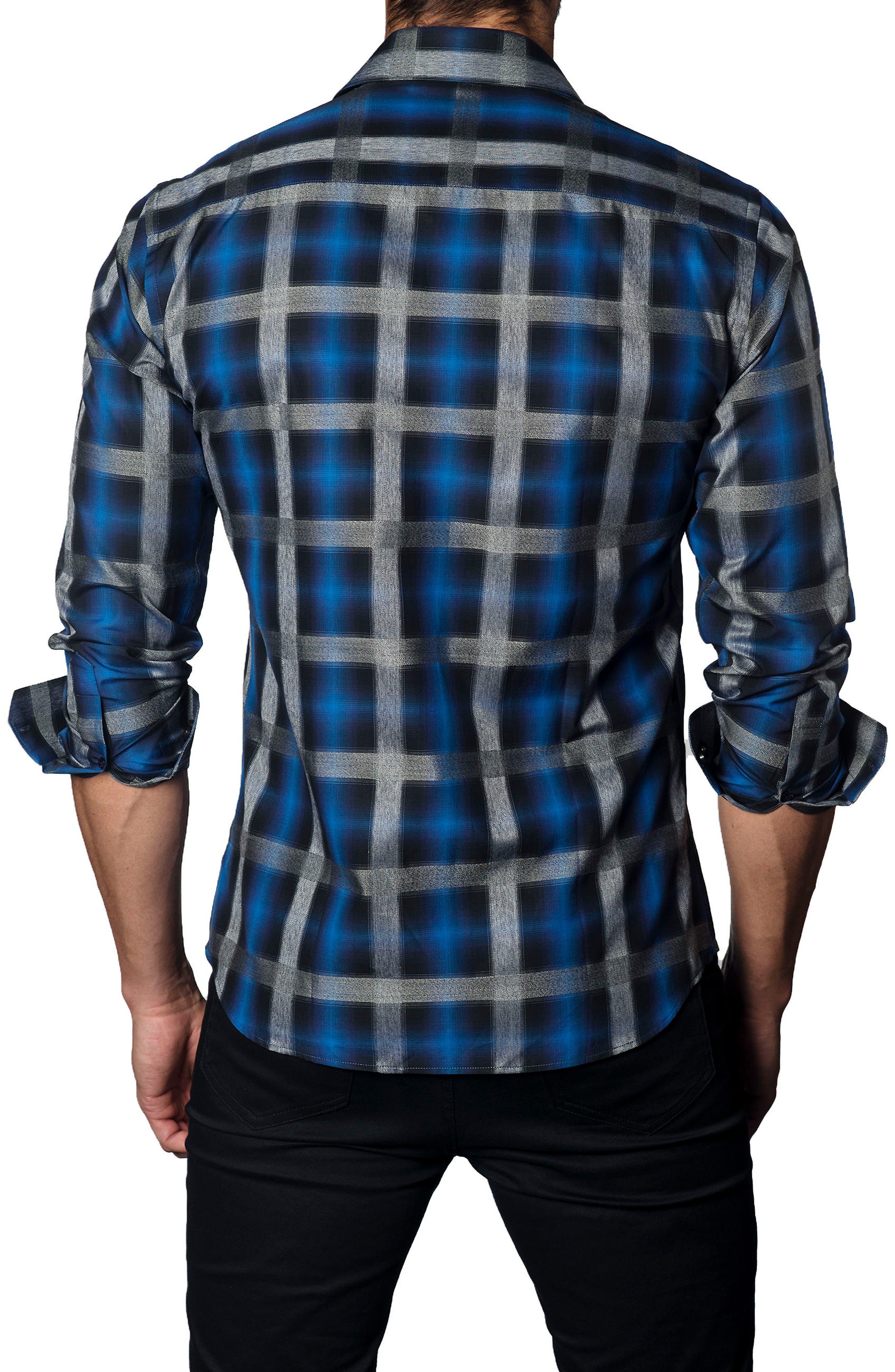 Trim Fit Oversize Check Sport Shirt,                             Alternate thumbnail 2, color,                             400
